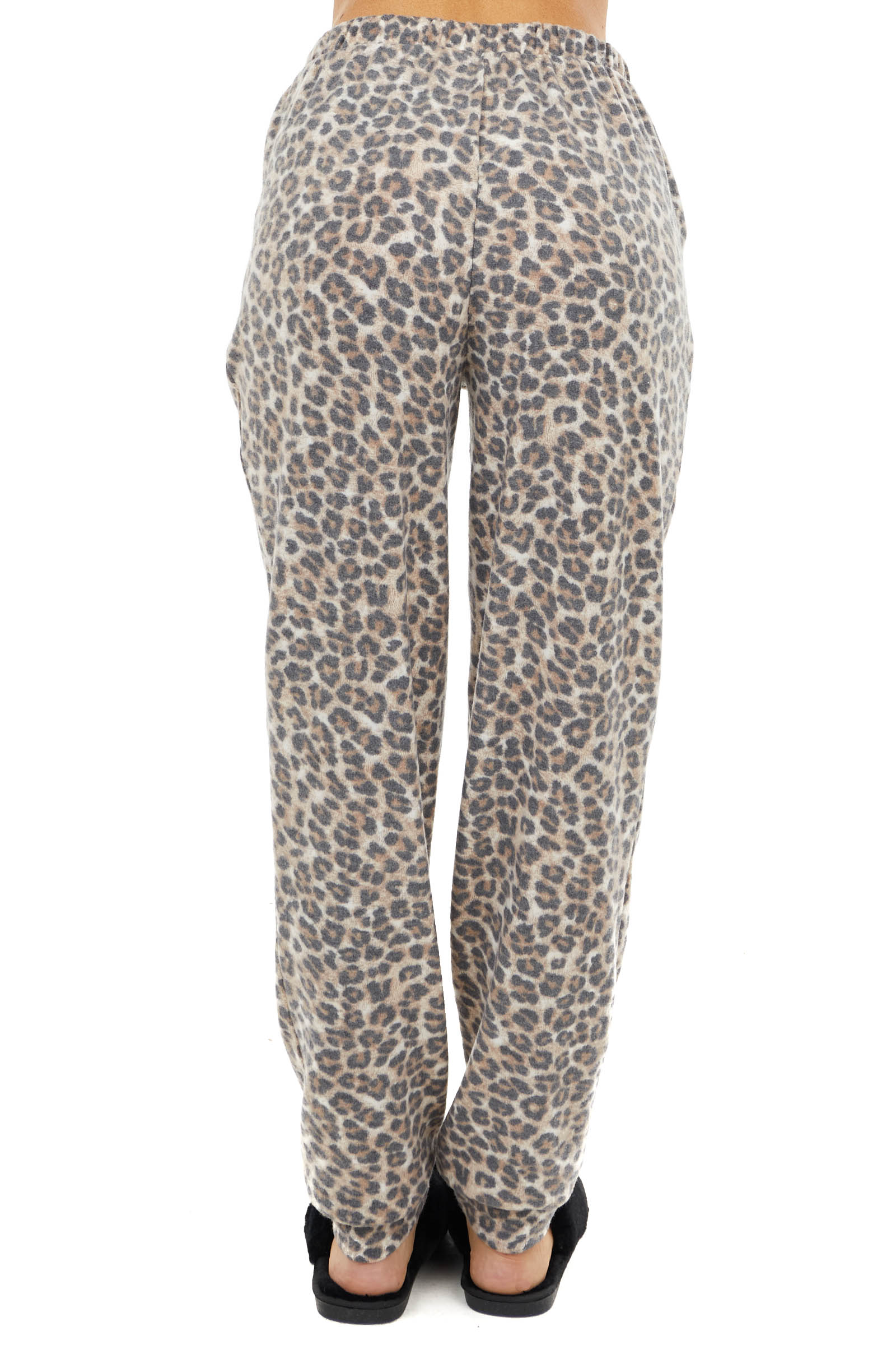 Beige and Charcoal Leopard Print Knit Jogger with Pockets