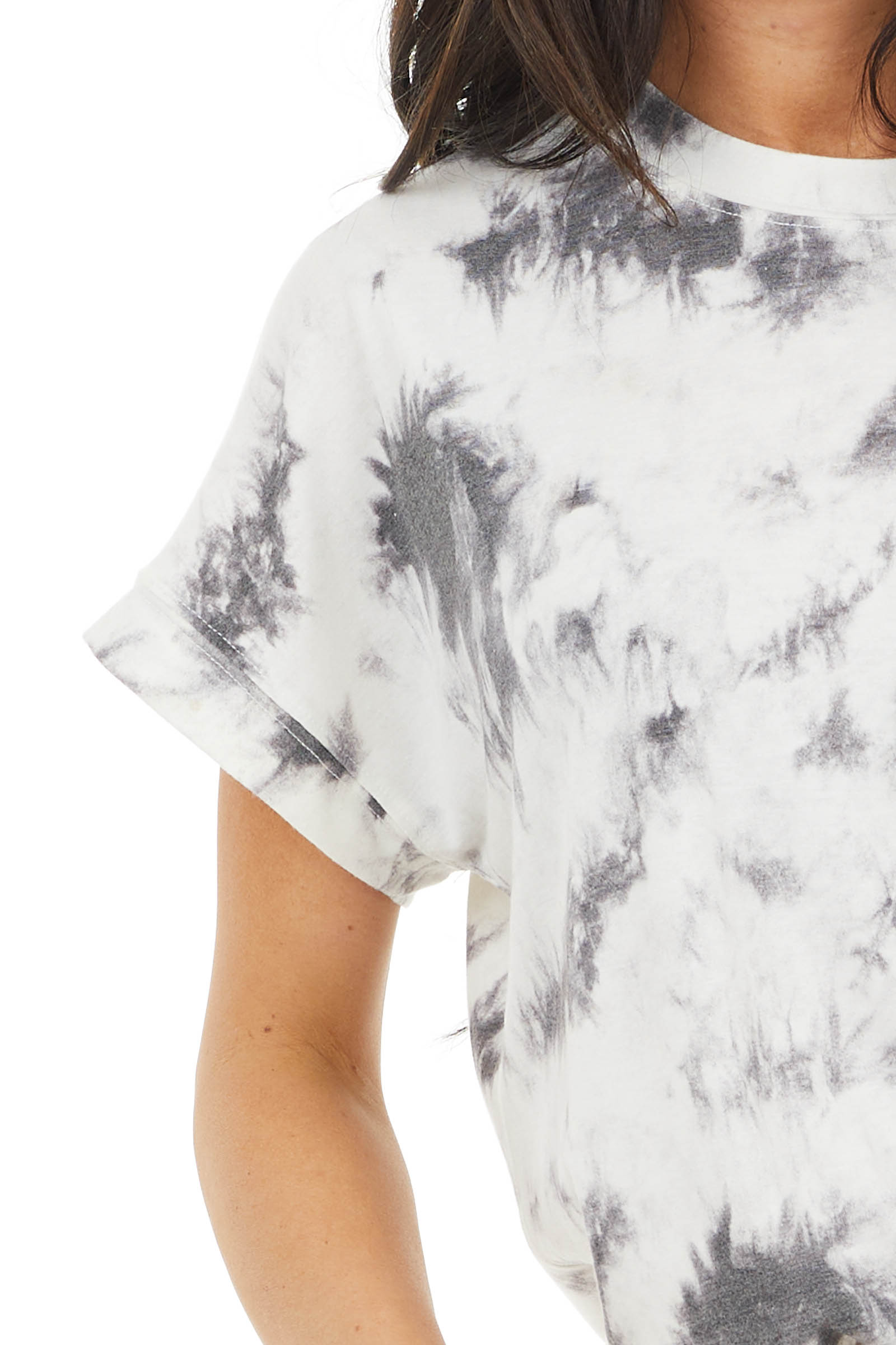 Charcoal and Cream Tie Dye Short Sleeve Super Soft Top