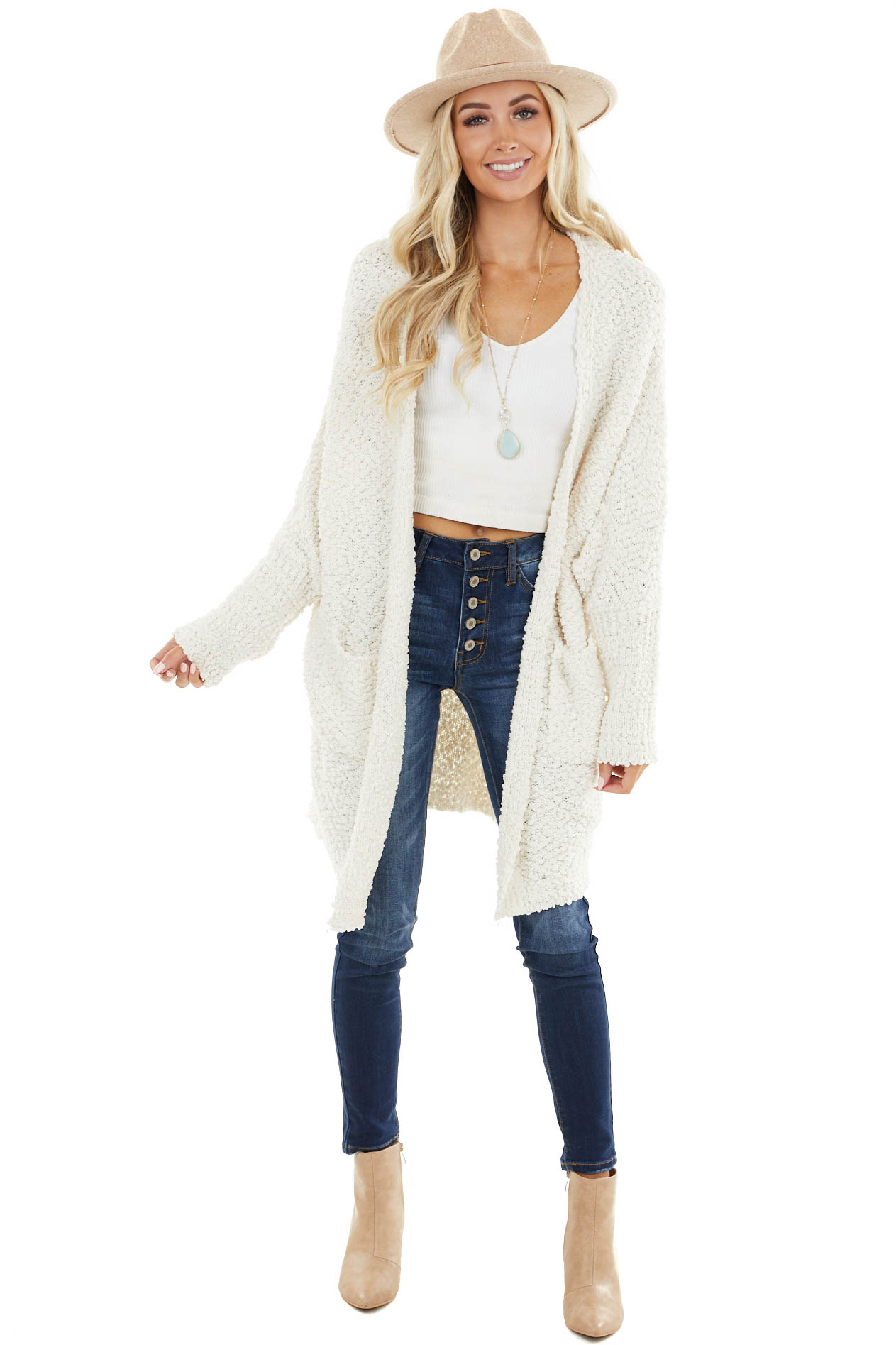 Ivory Popcorn Knit Dolman Sleeve Cardigan with Pockets