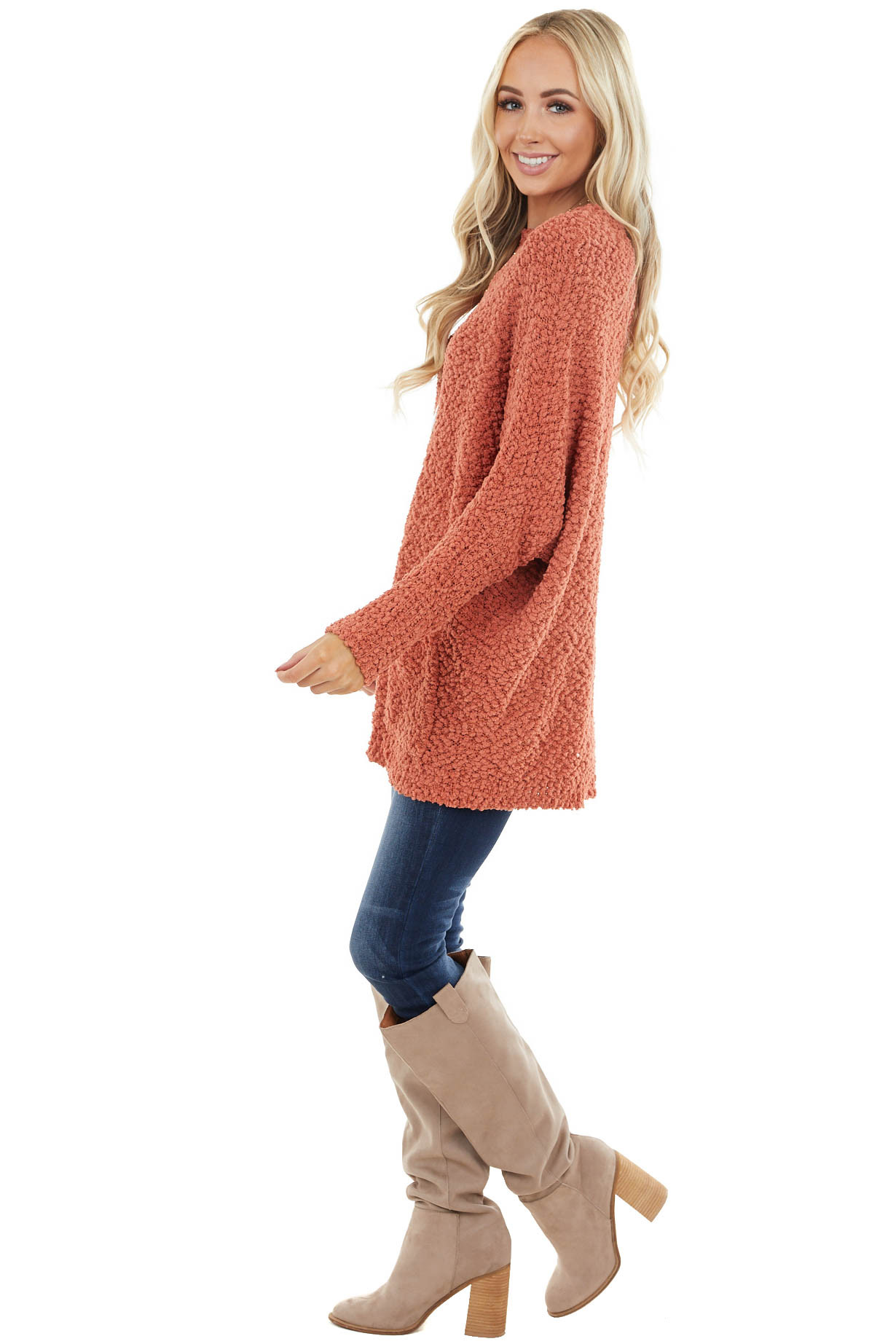 Terracotta Stretchy Knit Long Sweater with Pockets