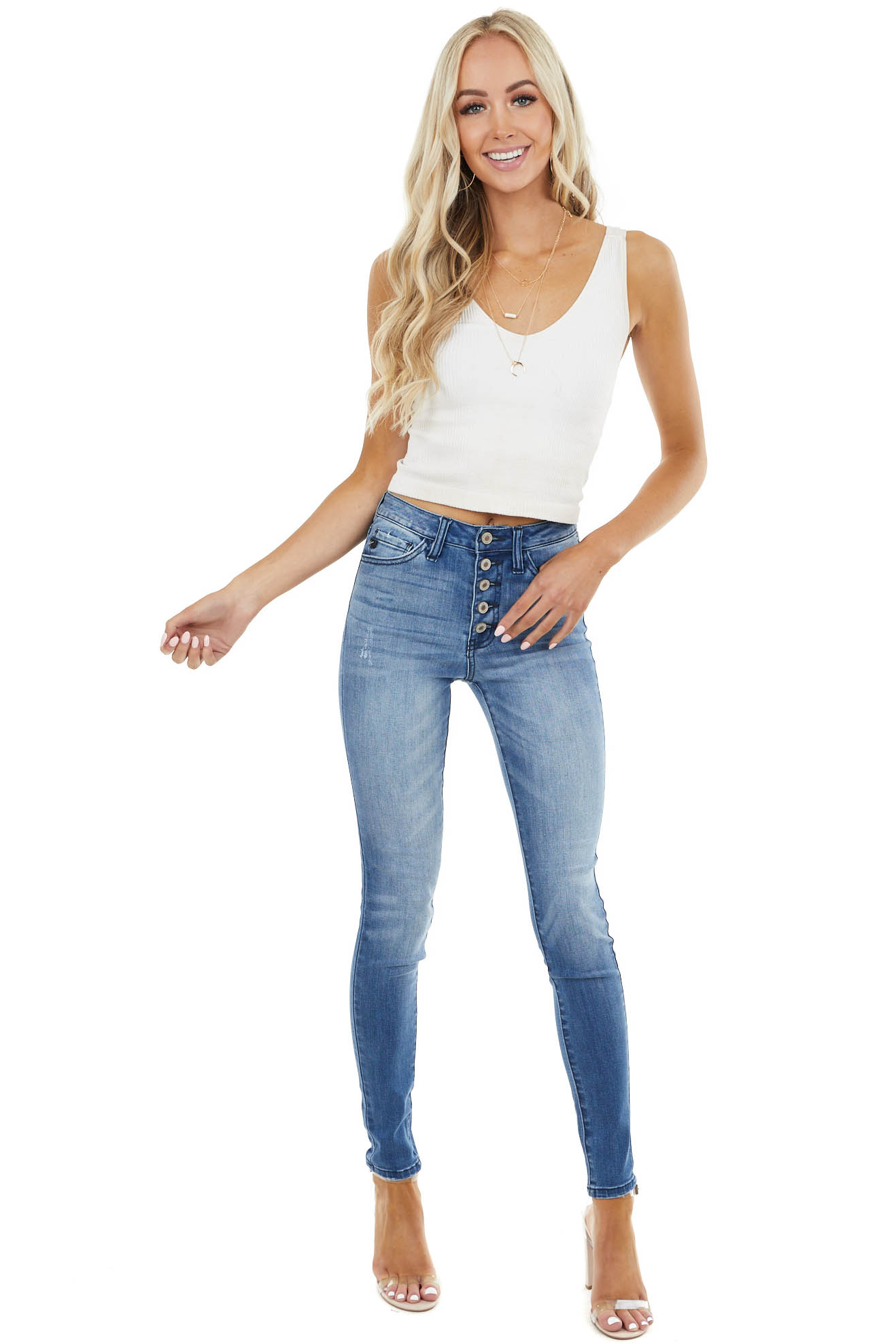Medium Wash High Rise Distressed Skinny Jean with Buttons