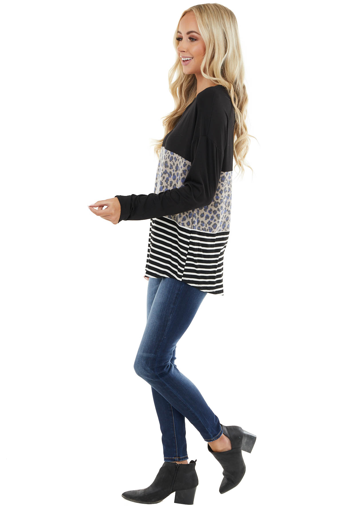 Black and Leopard Print Colorblock Top with Long Sleeves