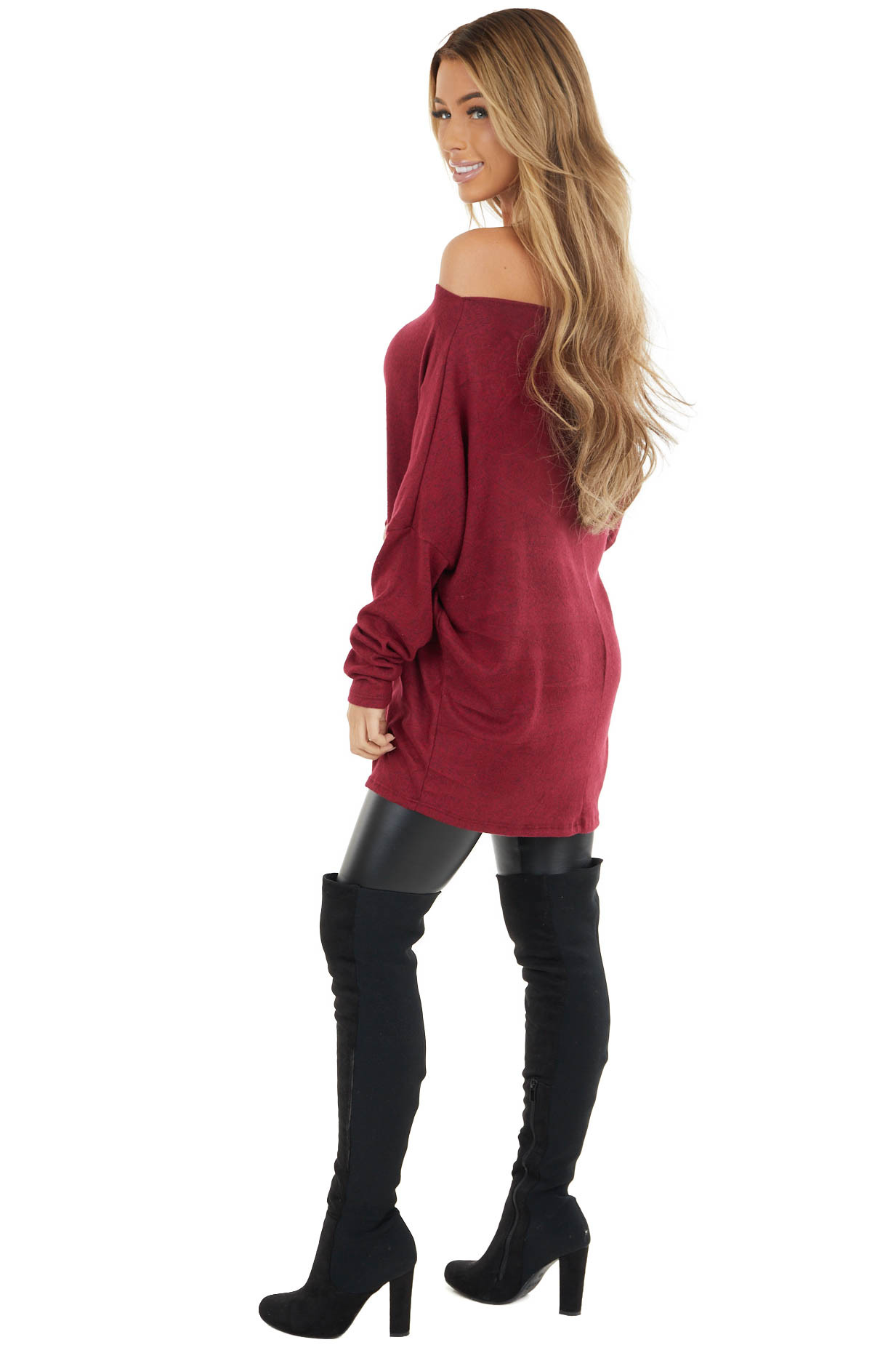 Maroon Two Tone Off the Shoulder Long Sleeve Knit Top