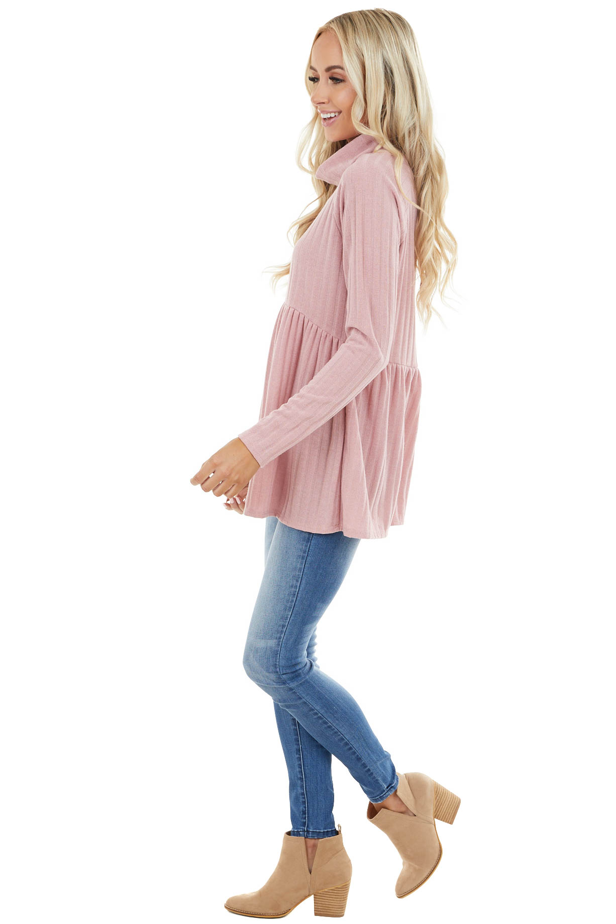 Dusty Blush Babydoll Ribbed Turtleneck Top with Long Sleeves