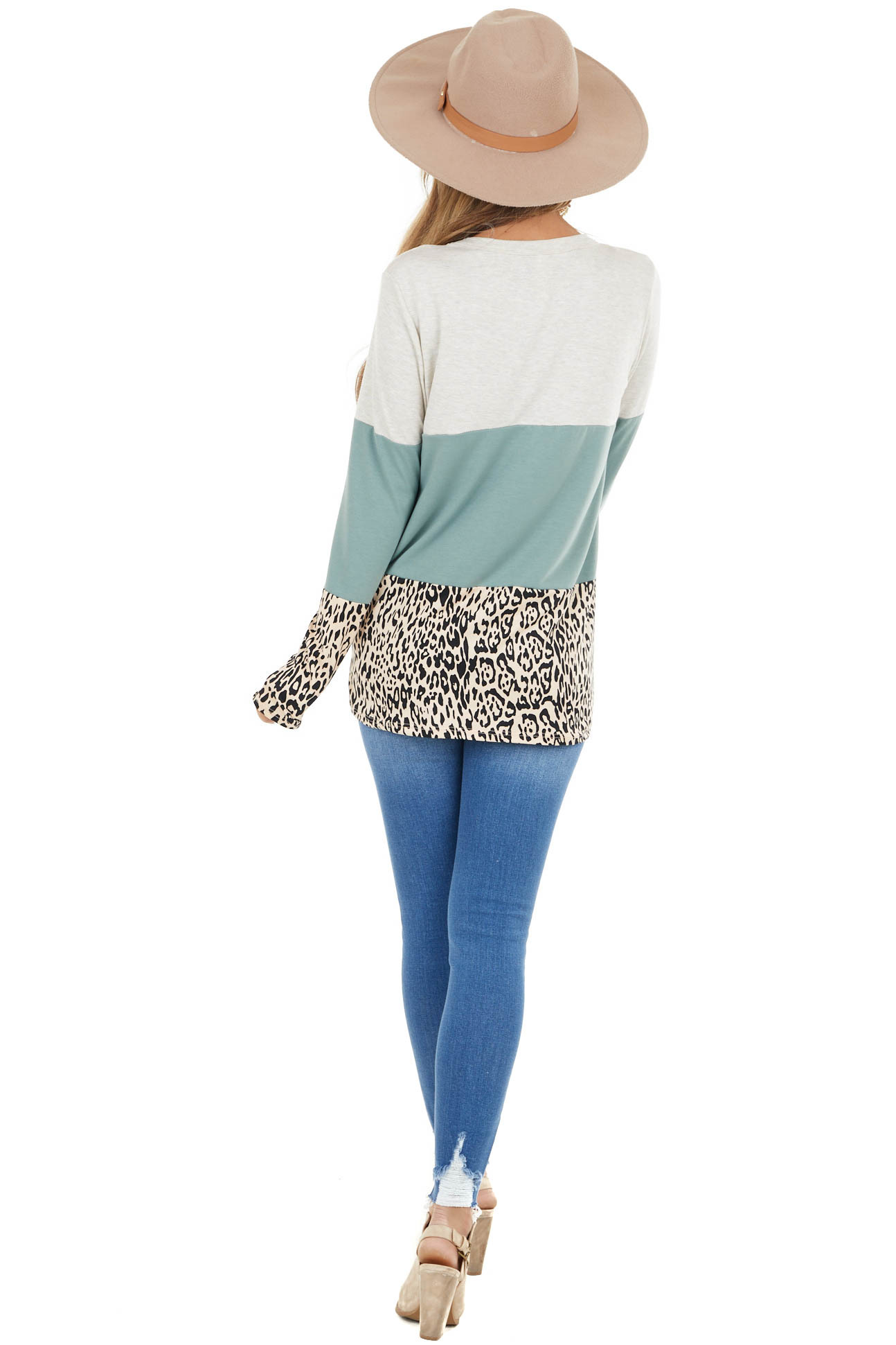 Oatmeal and Sage Colorblock and Leopard Print Contrast Top