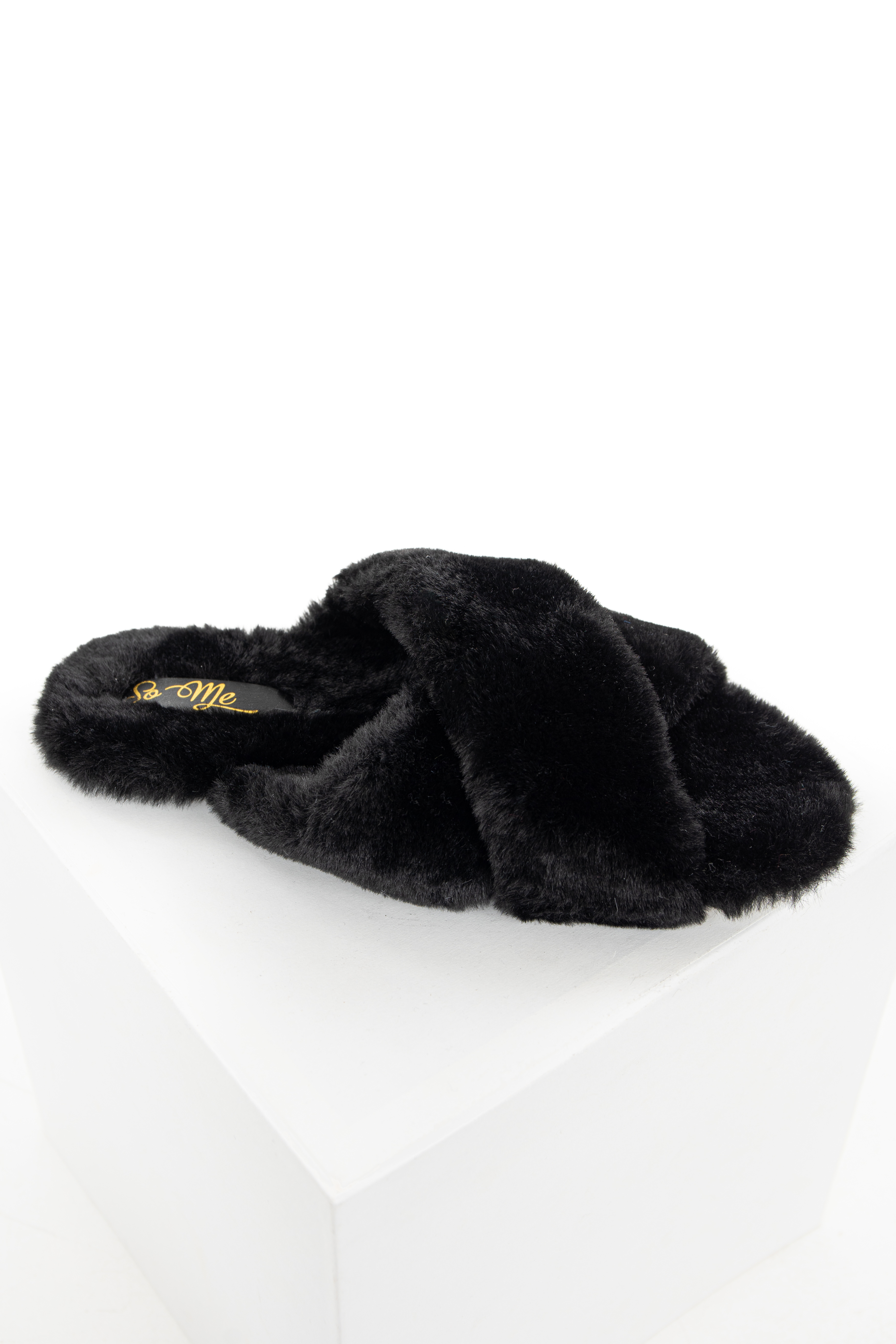 Black Fuzzy Open Toed Slippers with Criss Cross Tops