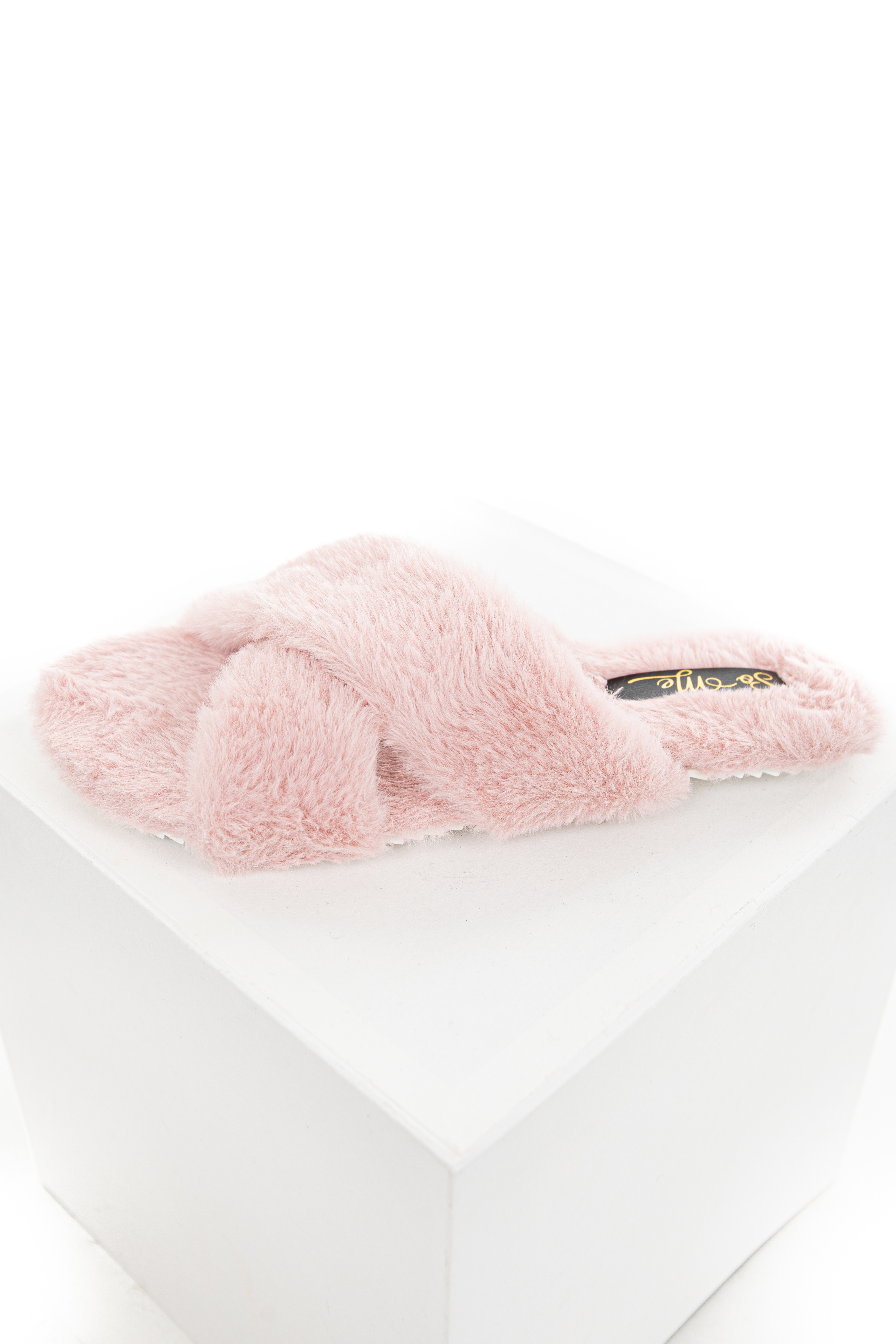 Dusty Pink Fuzzy Open Toed Slippers with Criss Cross Tops