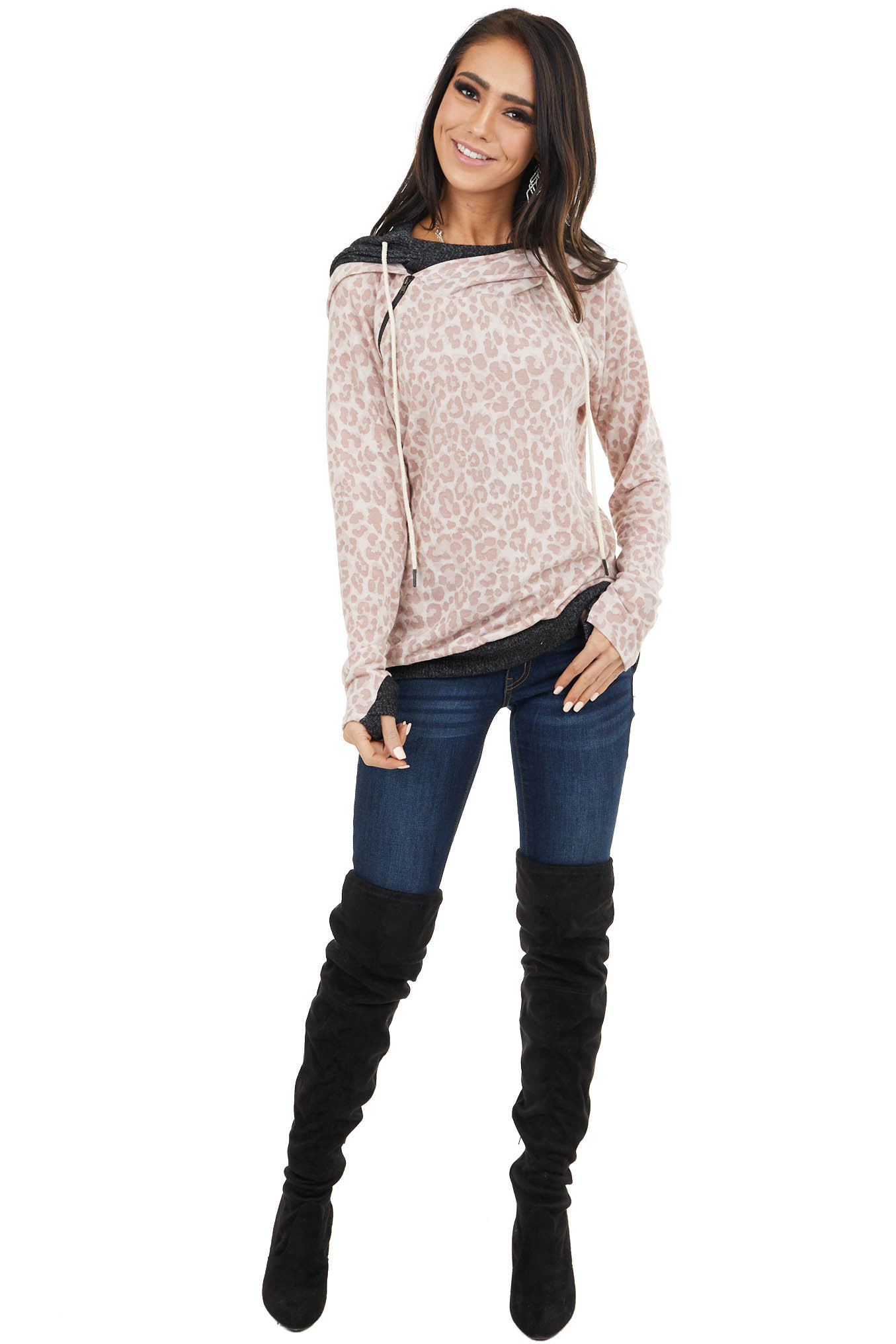 Blush and Dusty Rose Leopard Print Lightweight Hoodie