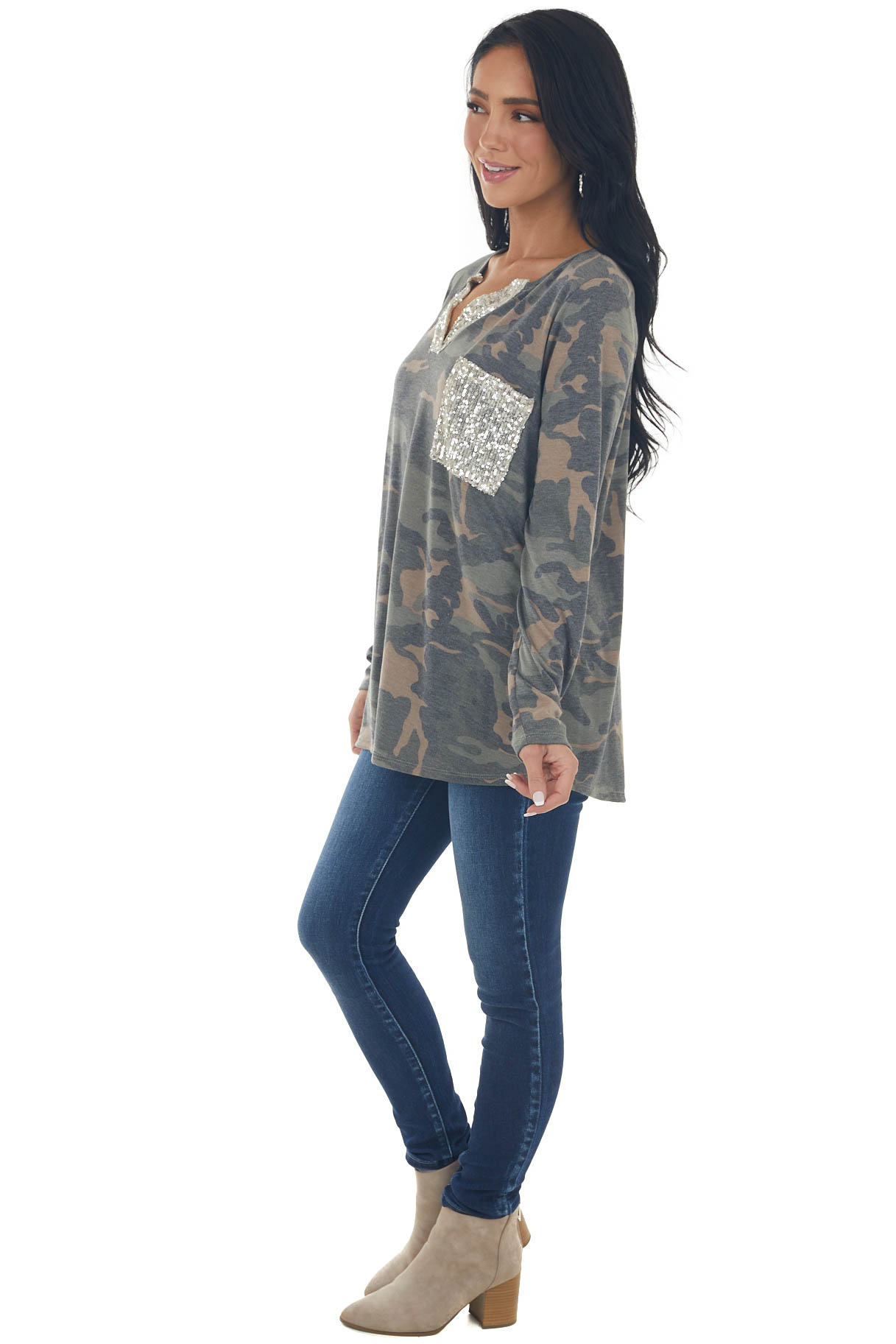 Charcoal Camo Print Long Sleeve Top with Sequin Detail