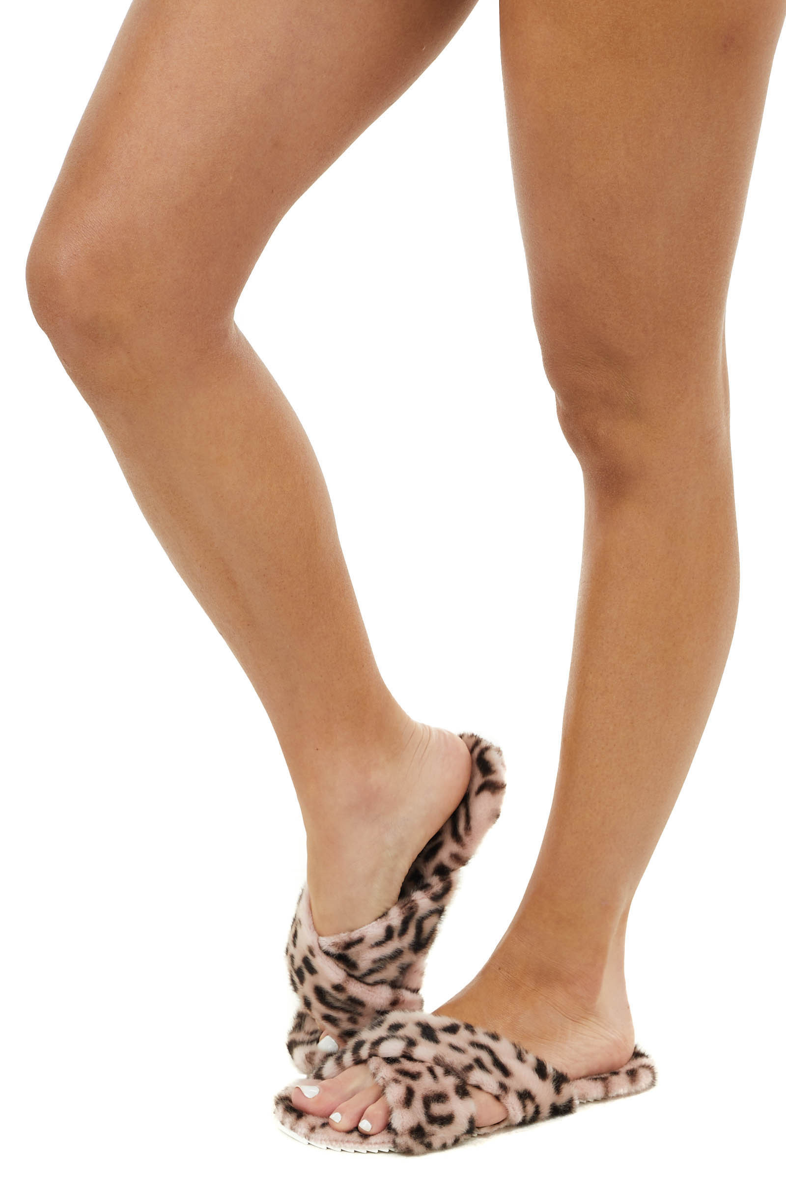 Peach Leopard Fuzzy Open Toed Slippers with Criss Cross Tops