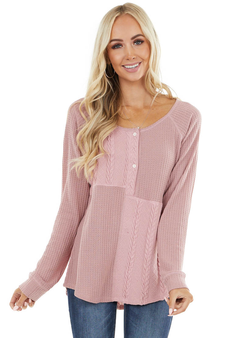 Mauve Long Sleeve Top with Buttons and Cable Knit Details