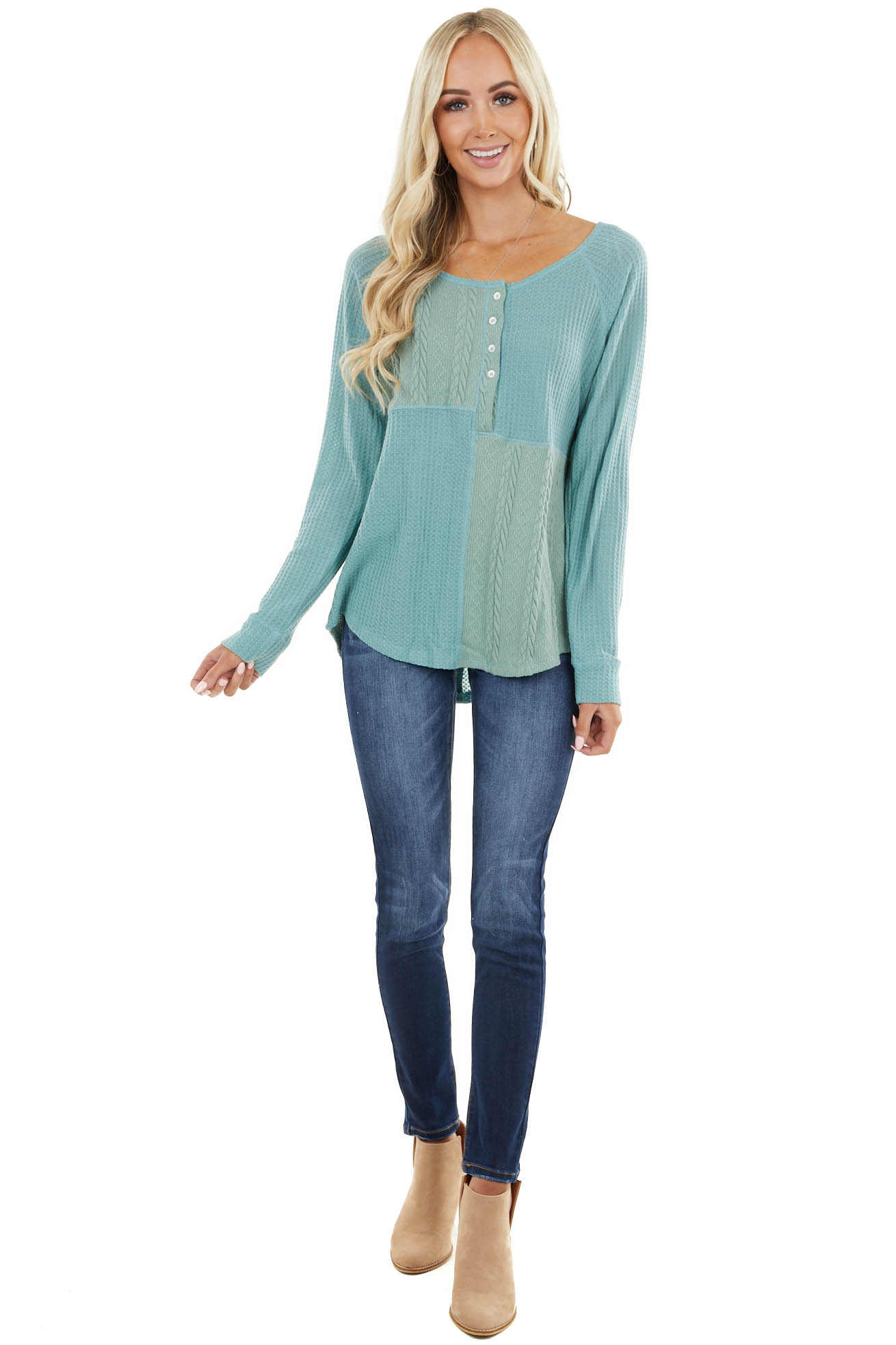 Sage Long Sleeve Top with Buttons and Cable Knit Details