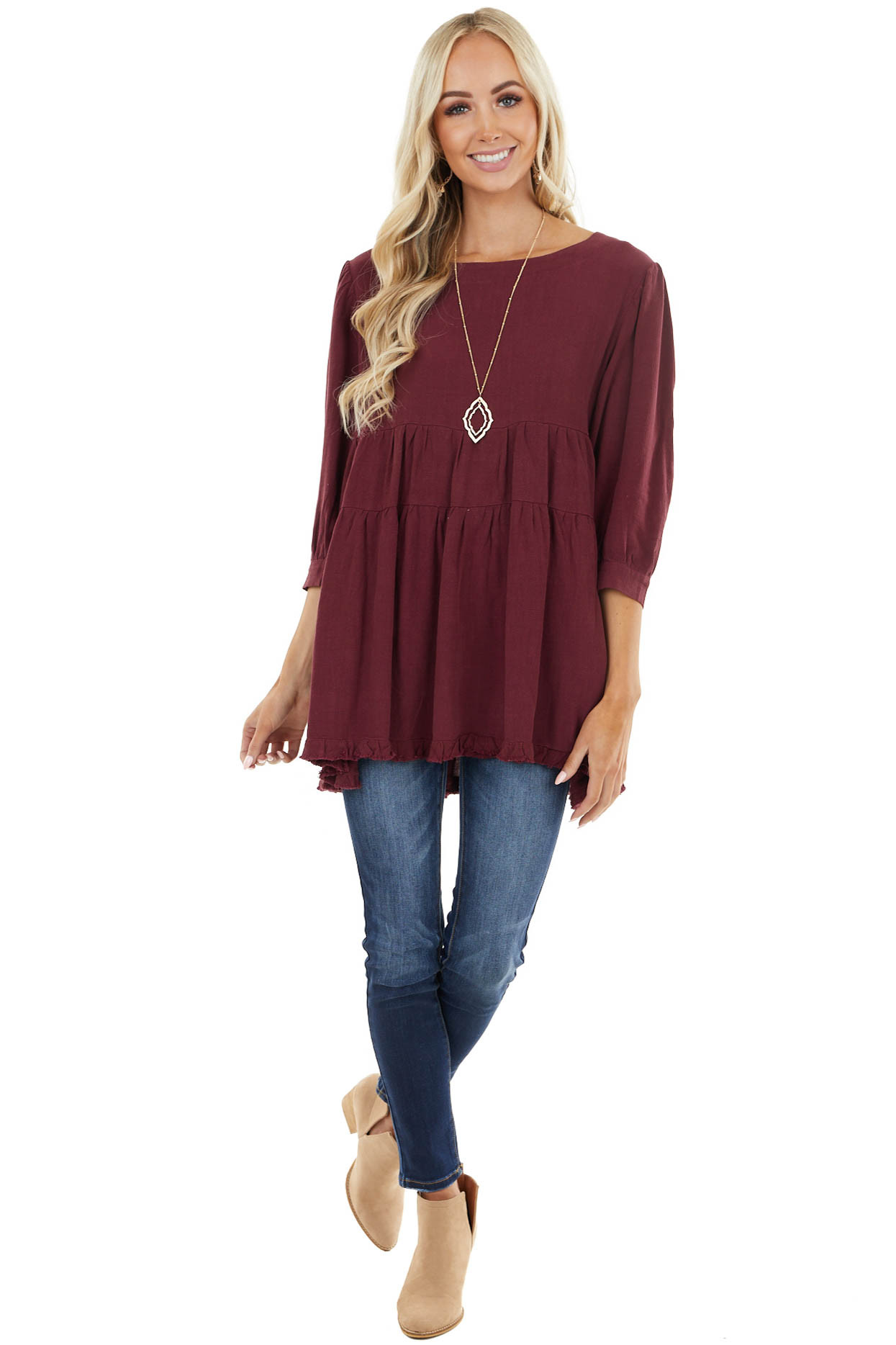 Wine 3/4 Sleeve Tiered Tunic Top with Back Keyhole Detail