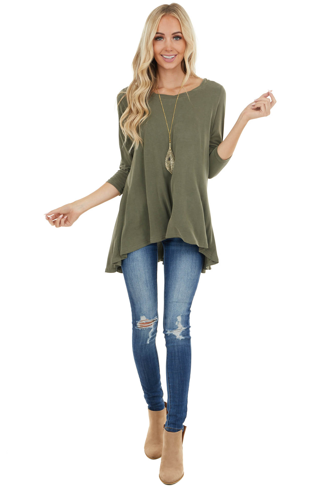 Olive Green 3/4 Sleeve High Low Knit Tunic Top