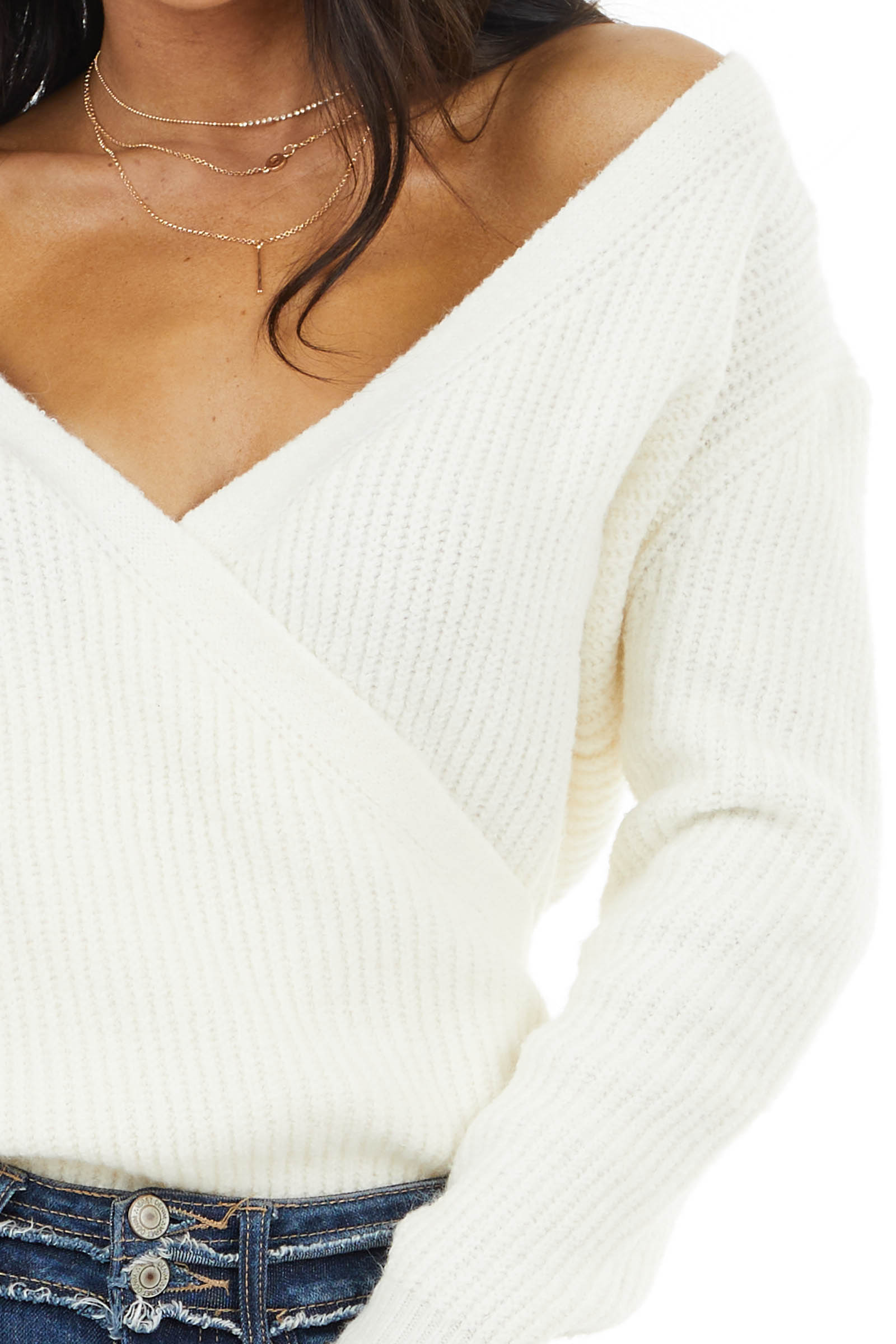 Cream Surplice Cropped Sweater Top with Deep V Neckline