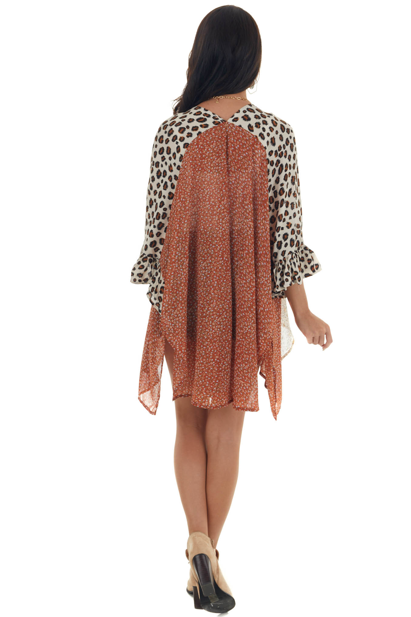 Rust Multiprint Kimono Open Front with Bell Sleeves