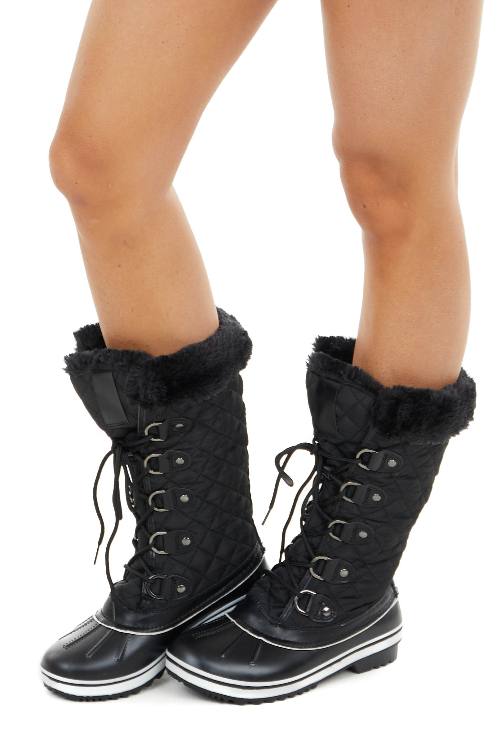 Black Quilted Lace Up Snow Boots with Faux Fur Lining