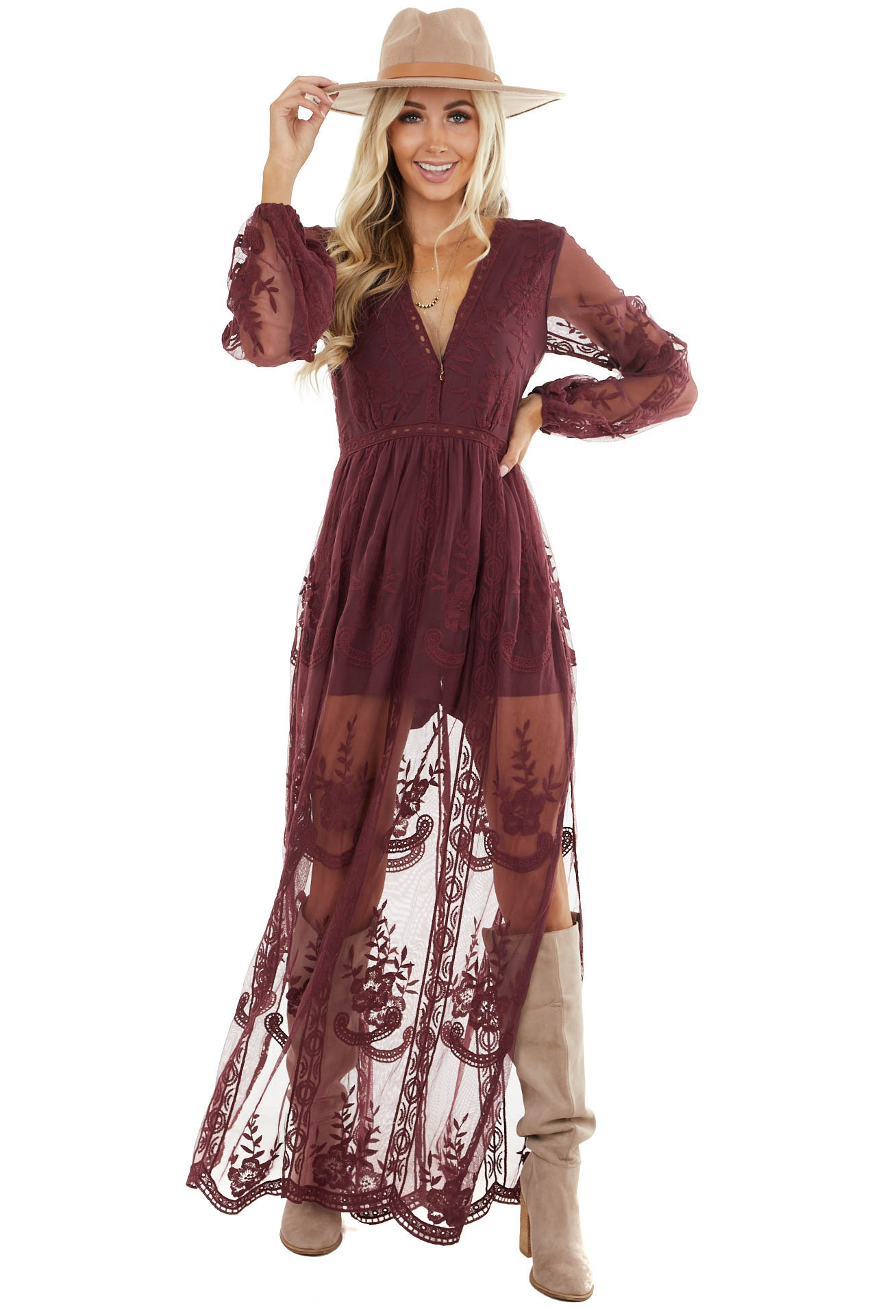 Wine Lace Long Sleeve Romper with Maxi Overlay