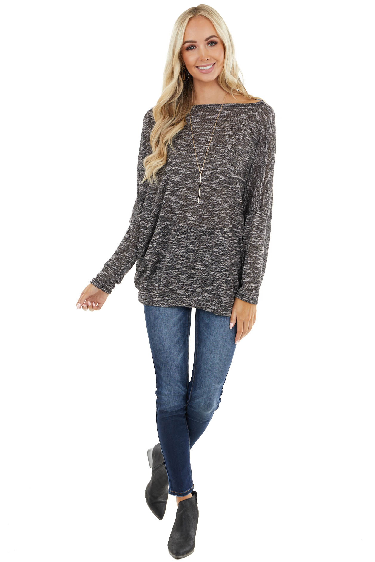Black Two Tone Off the Shoulder Long Sleeve Knit Top