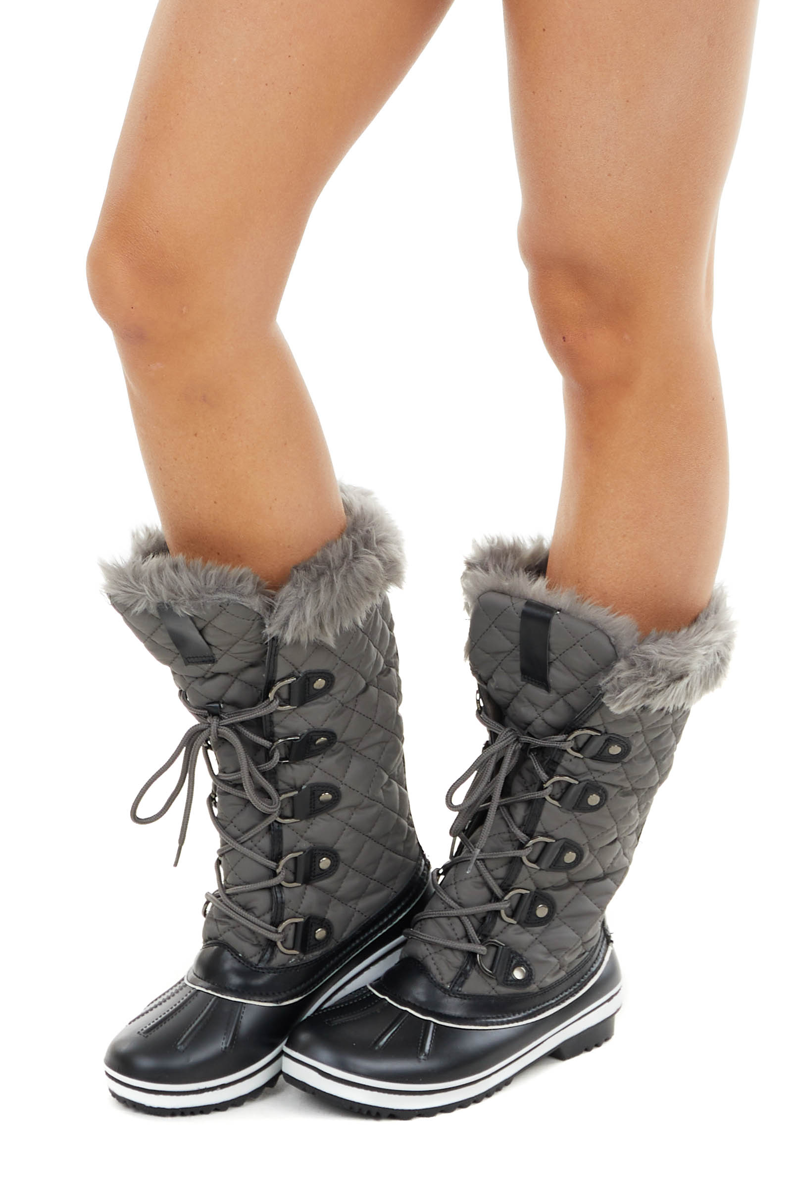 Ash Grey Quilted Lace Up Snow Boots with Faux Fur Lining