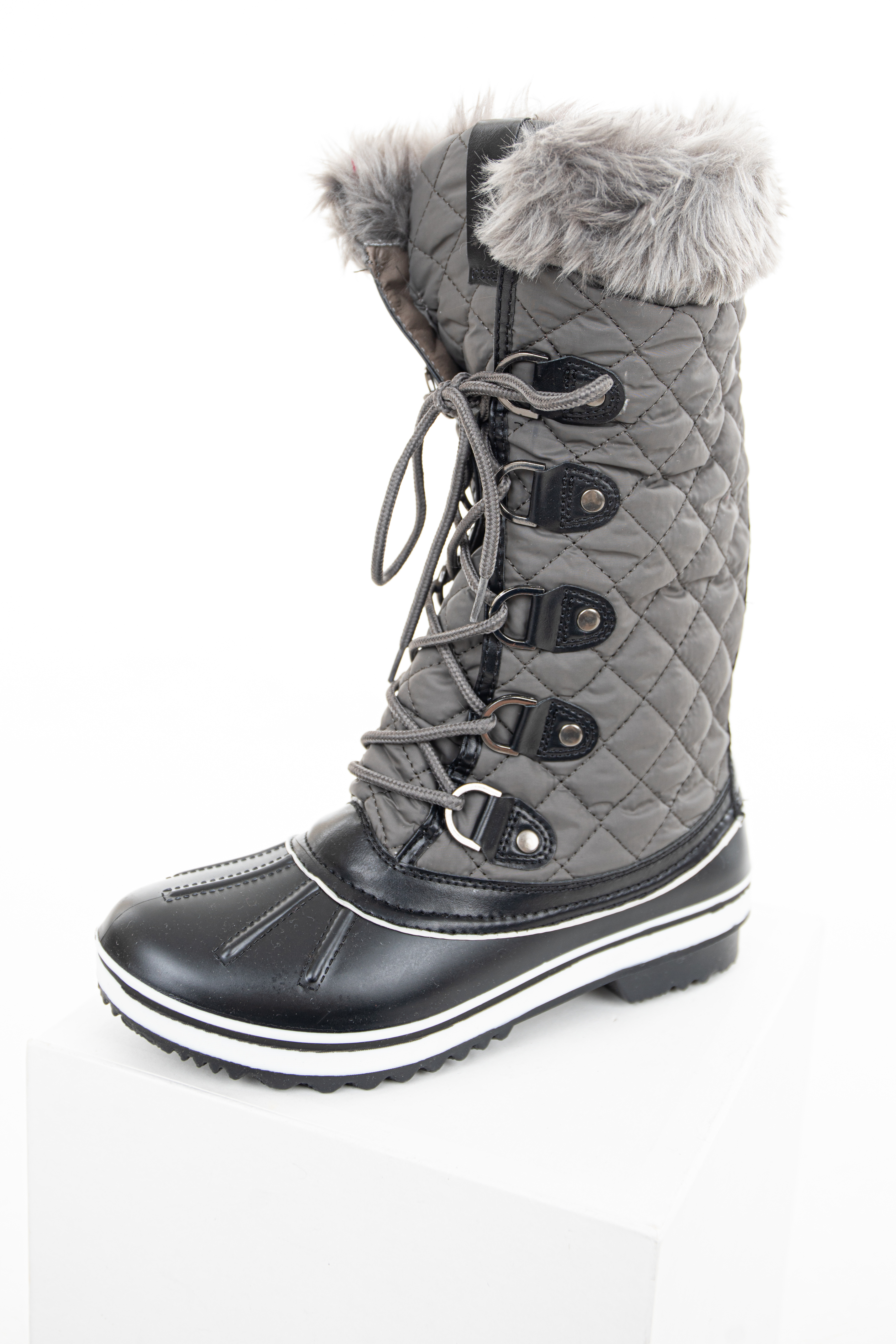 Ash Grey Quilted Lace Up Snow Boots