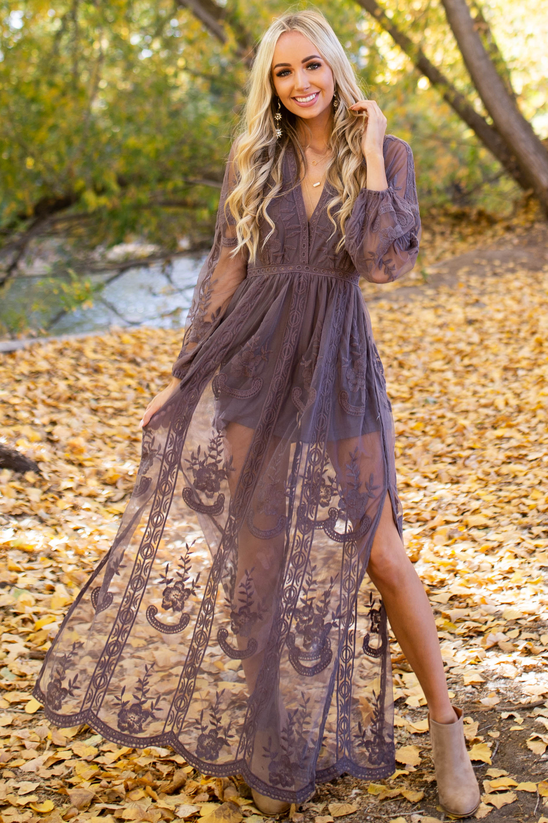 Stone Lace Long Sleeve Romper with Maxi Overlay