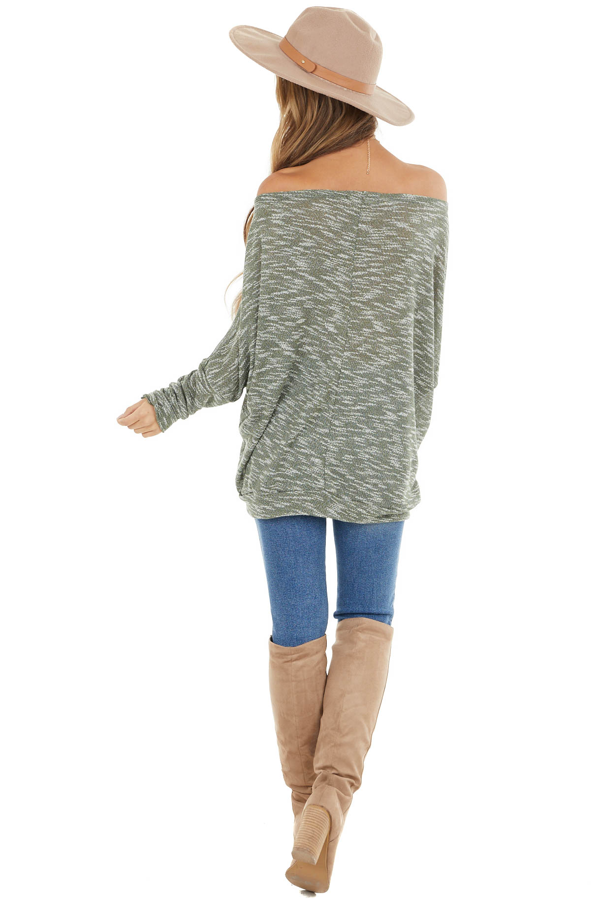 Sage Two Tone Off the Shoulder Long Sleeve Knit Top
