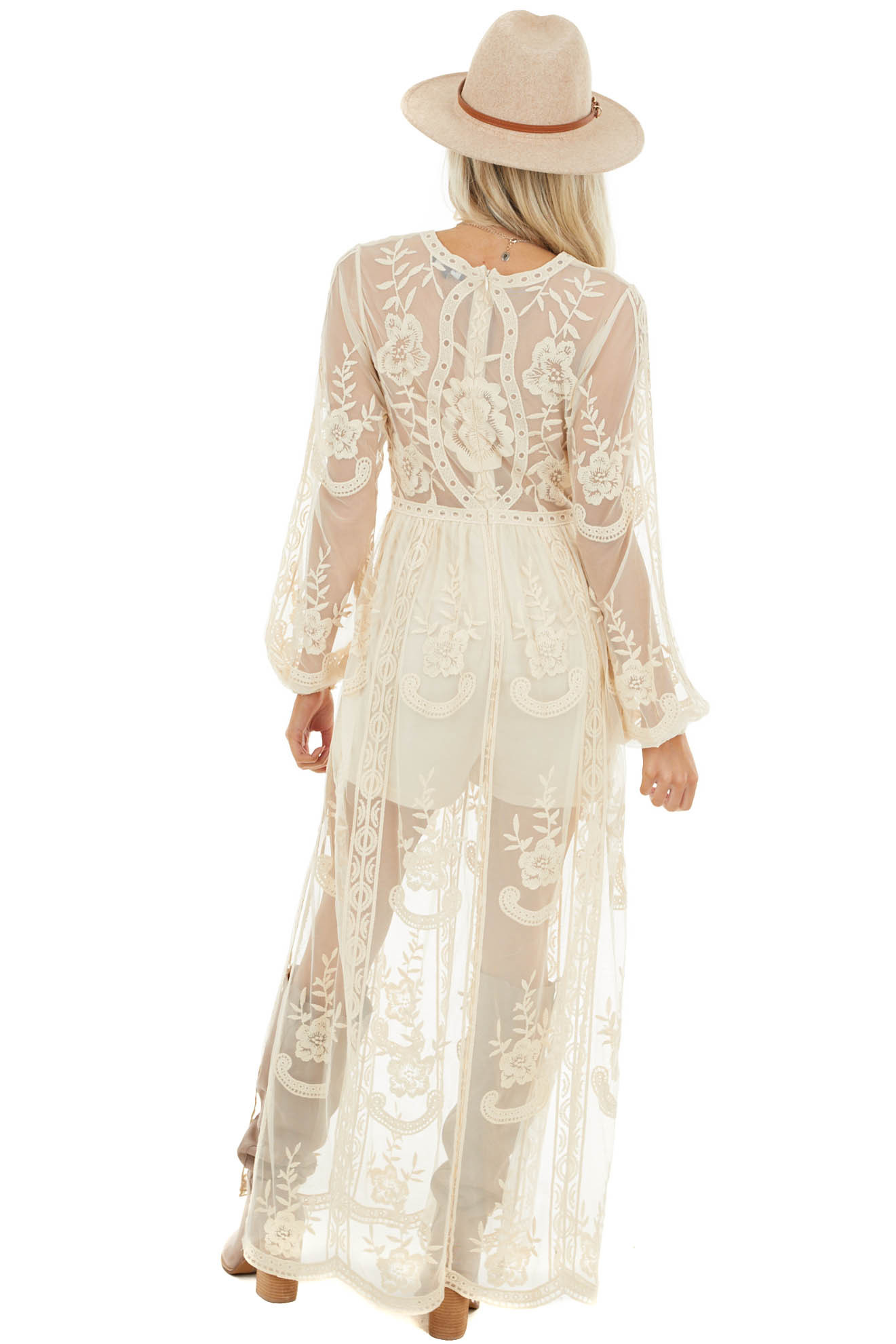 Cream Lace Long Sleeve Romper with Maxi Overlay