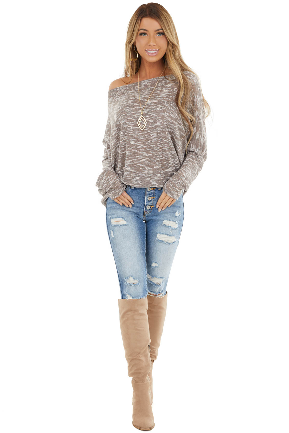 Taupe Two Tone Off the Shoulder Long Sleeve Knit Top
