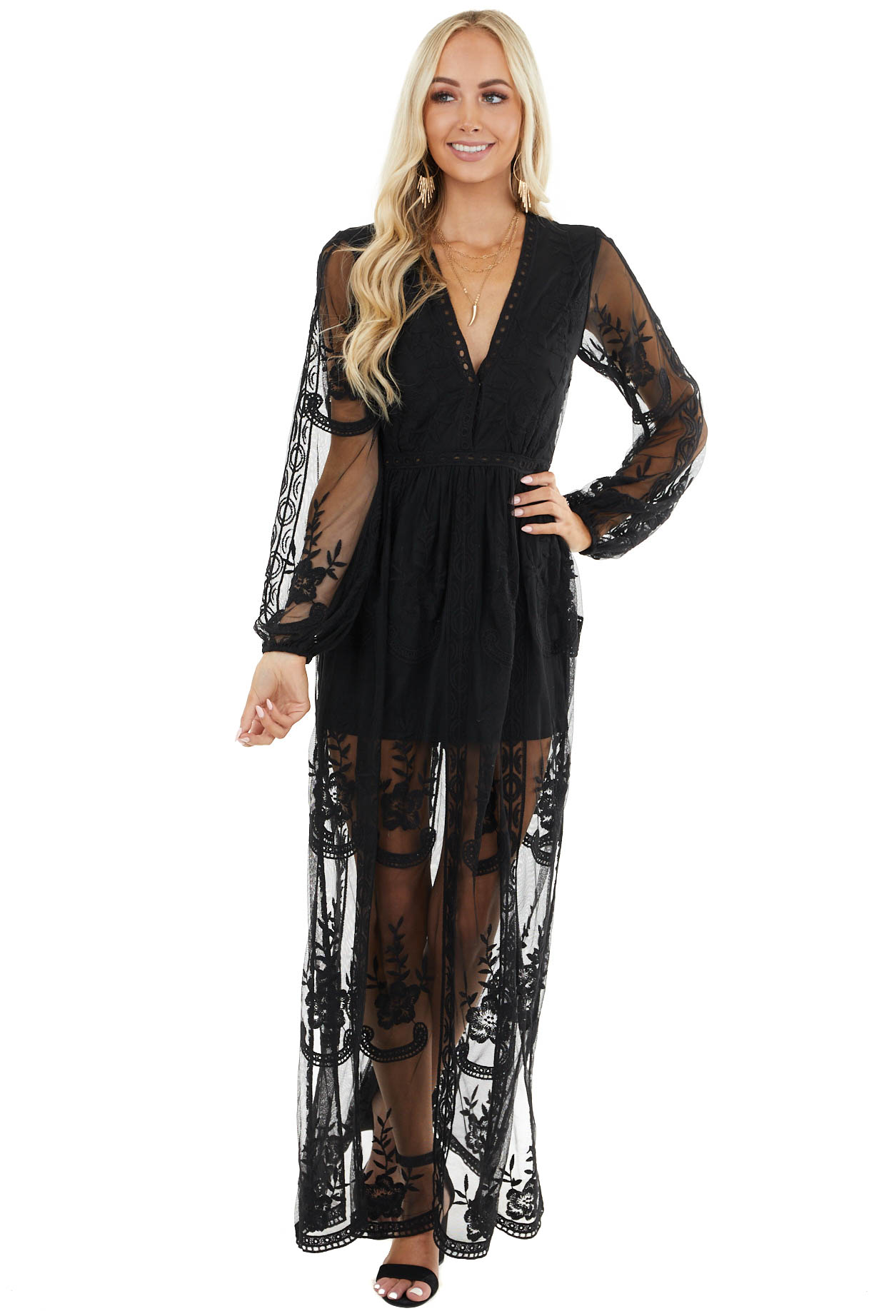 Black Lace Long Sleeve Romper with Maxi Overlay