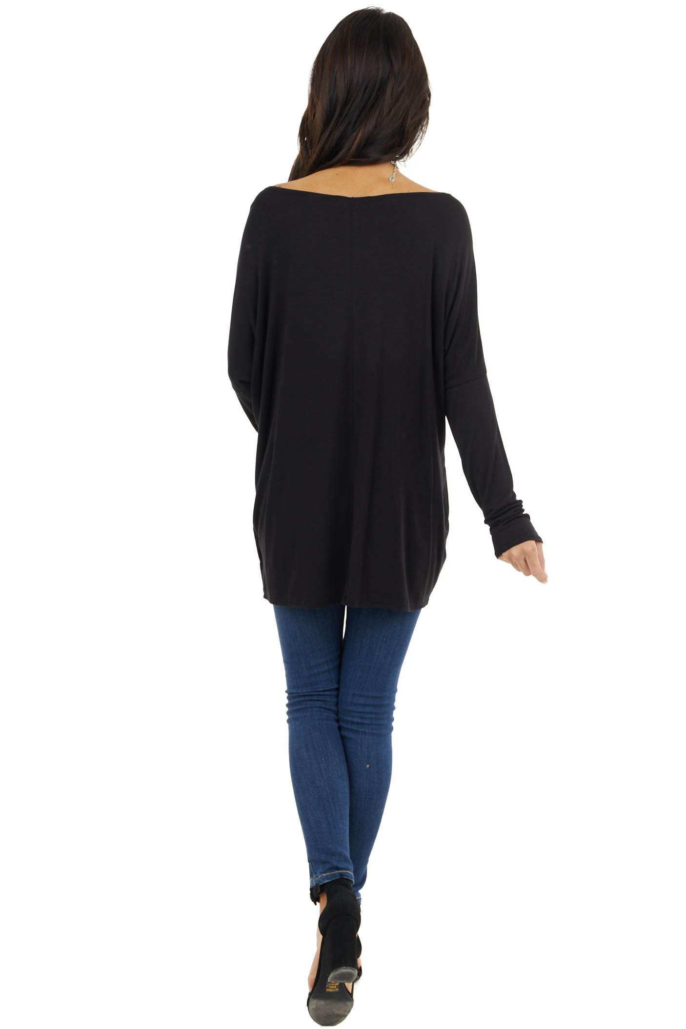 Black Long Sleeve Knit Top with Boat Style Neckline