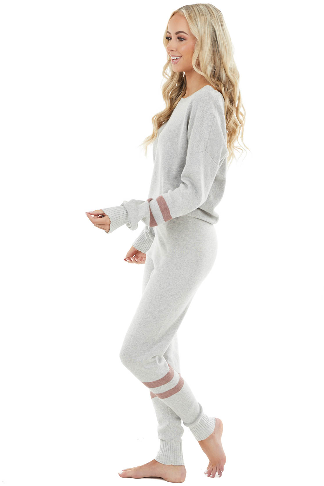 Dove Grey Long Sleeve Lightweight Sweater and Jogger Set