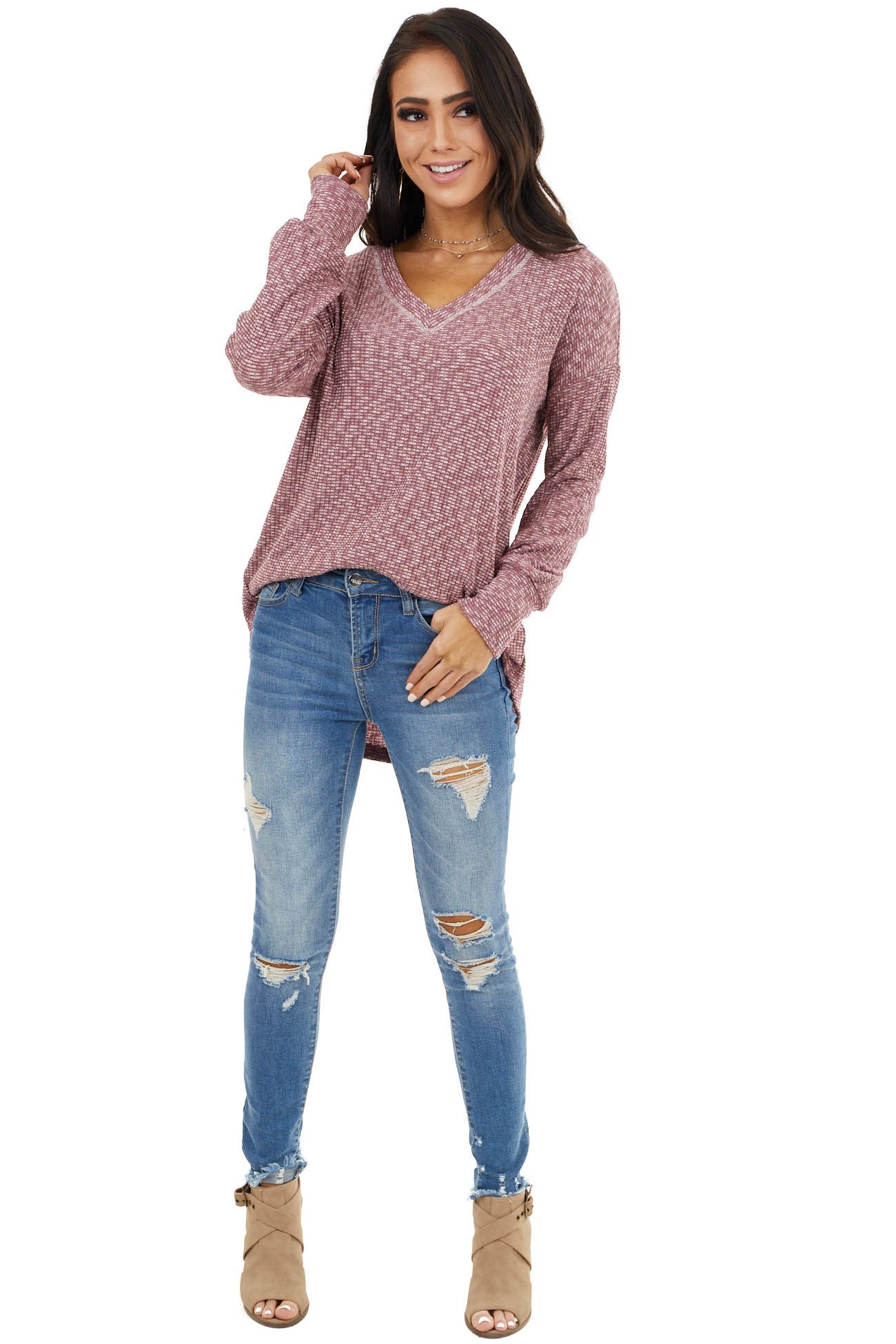 Dusty Rose Two Toned Waffle Knit Long Sleeve with V Neck