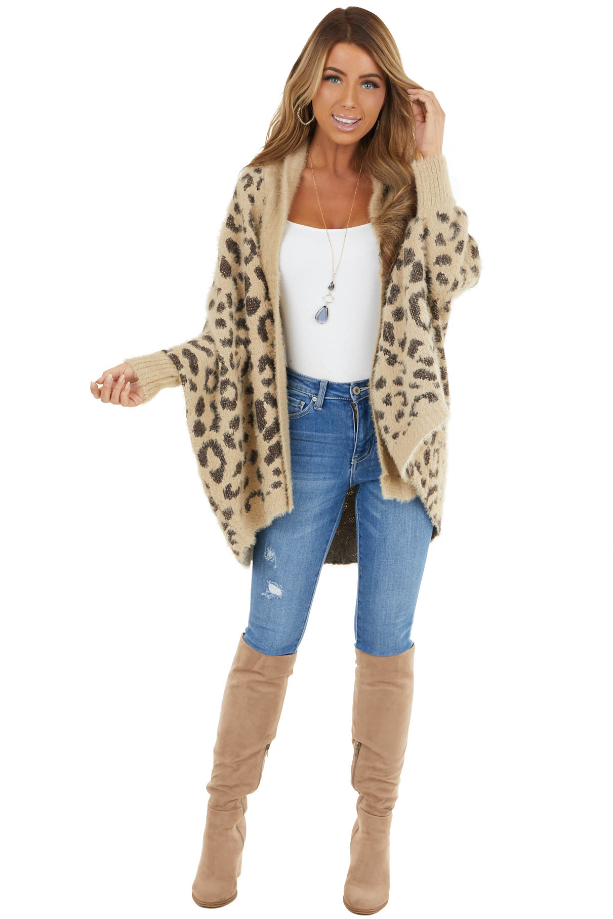 Beige Leopard Print Open Front Cardigan with Dolman Sleeves