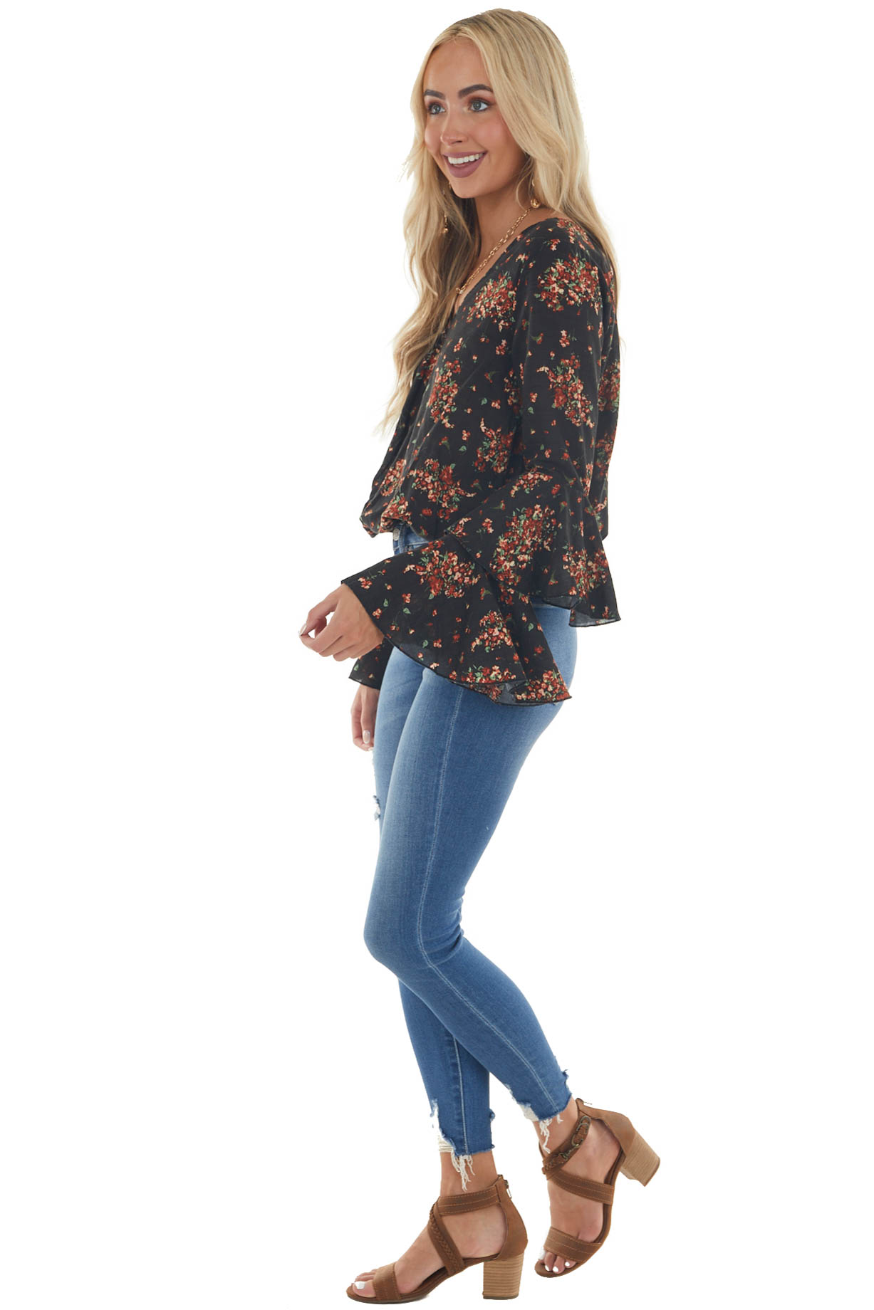 Black Floral Print Long Tiered Sleeve Top with Button Detail