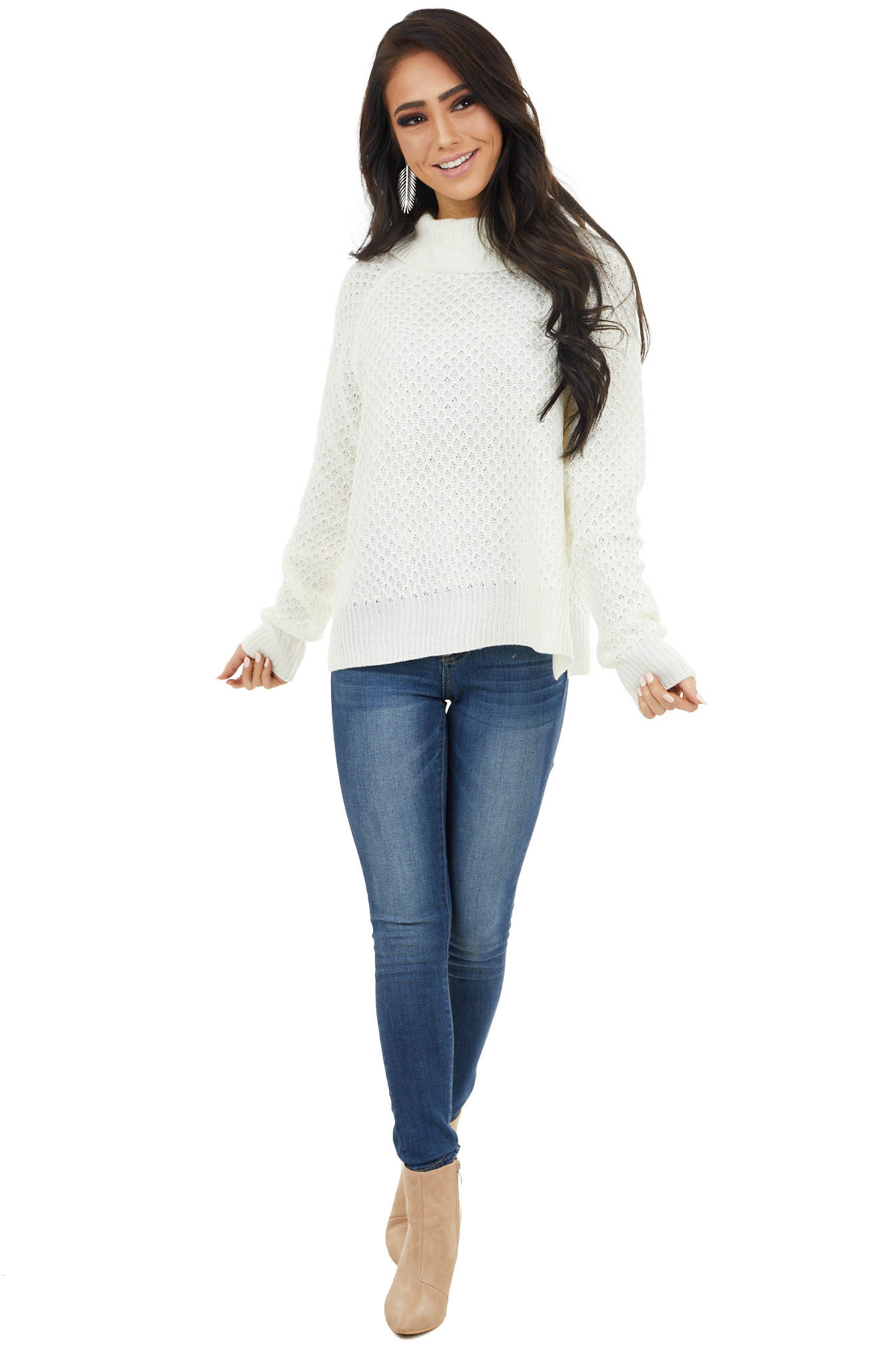 Ivory Waffle Knit Turtleneck Sweater with Long Sleeves