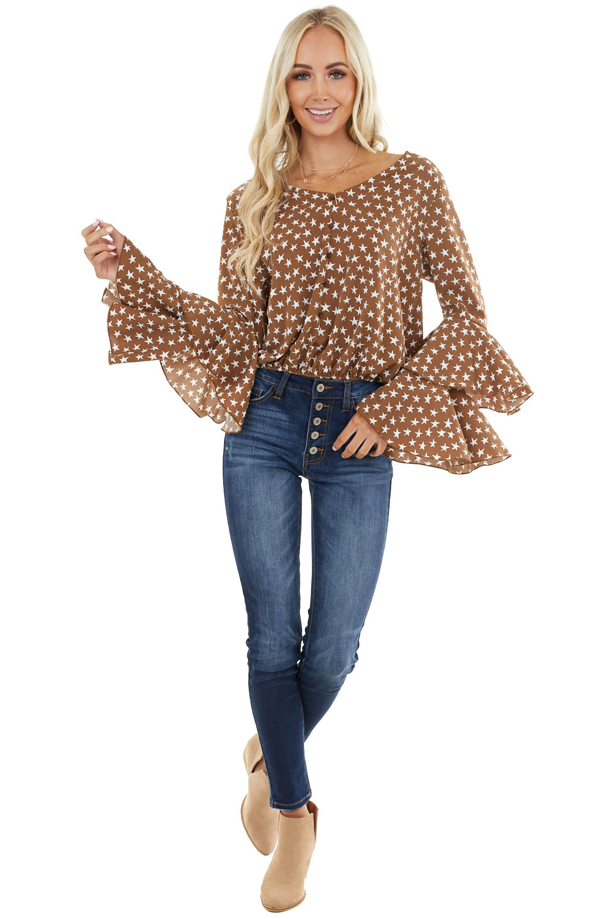 Cognac Star Print Long Tiered Sleeve Top with Button Detail