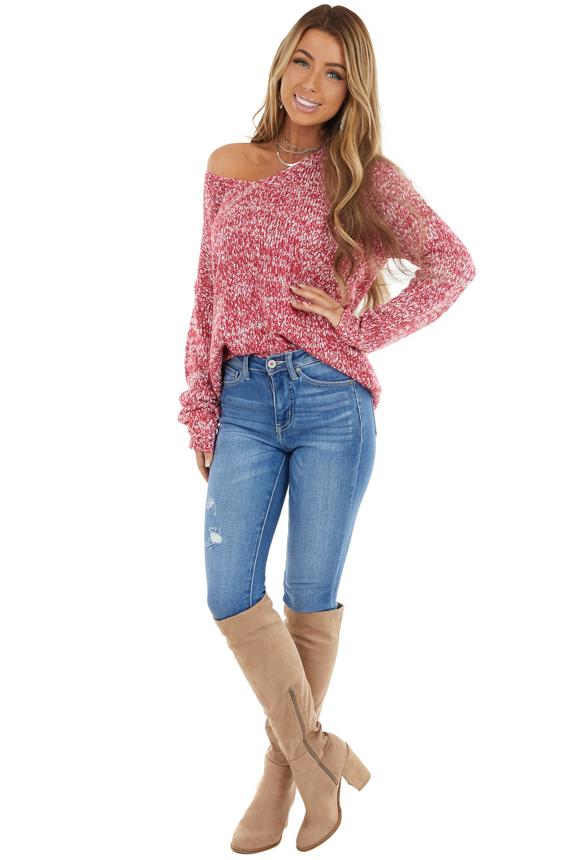 Fuchsia and White Two Toned Knit Sweater with Long Sleeves