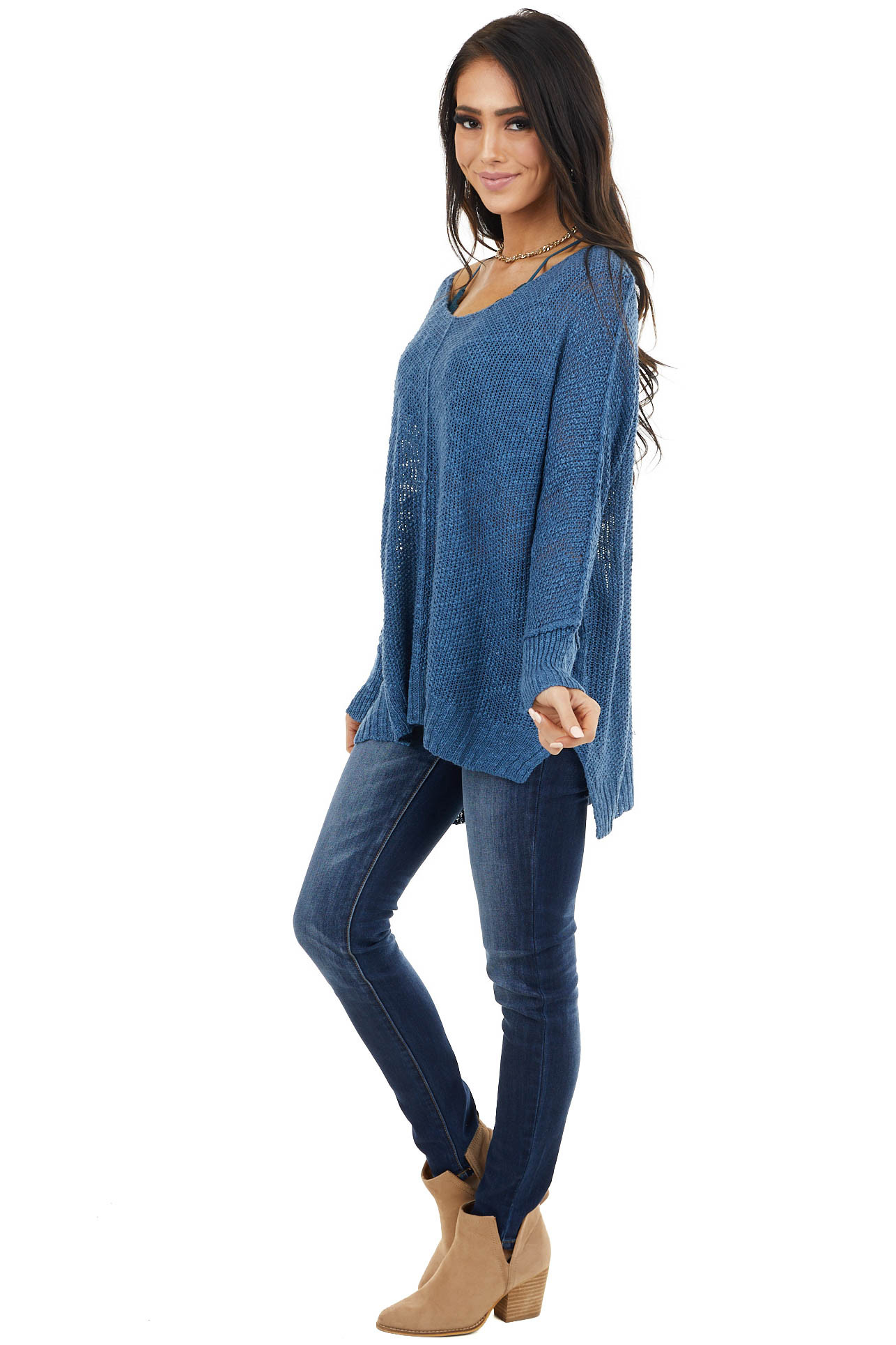 Dark Cornflower Knit Lightweight Sweater with Long Sleeves