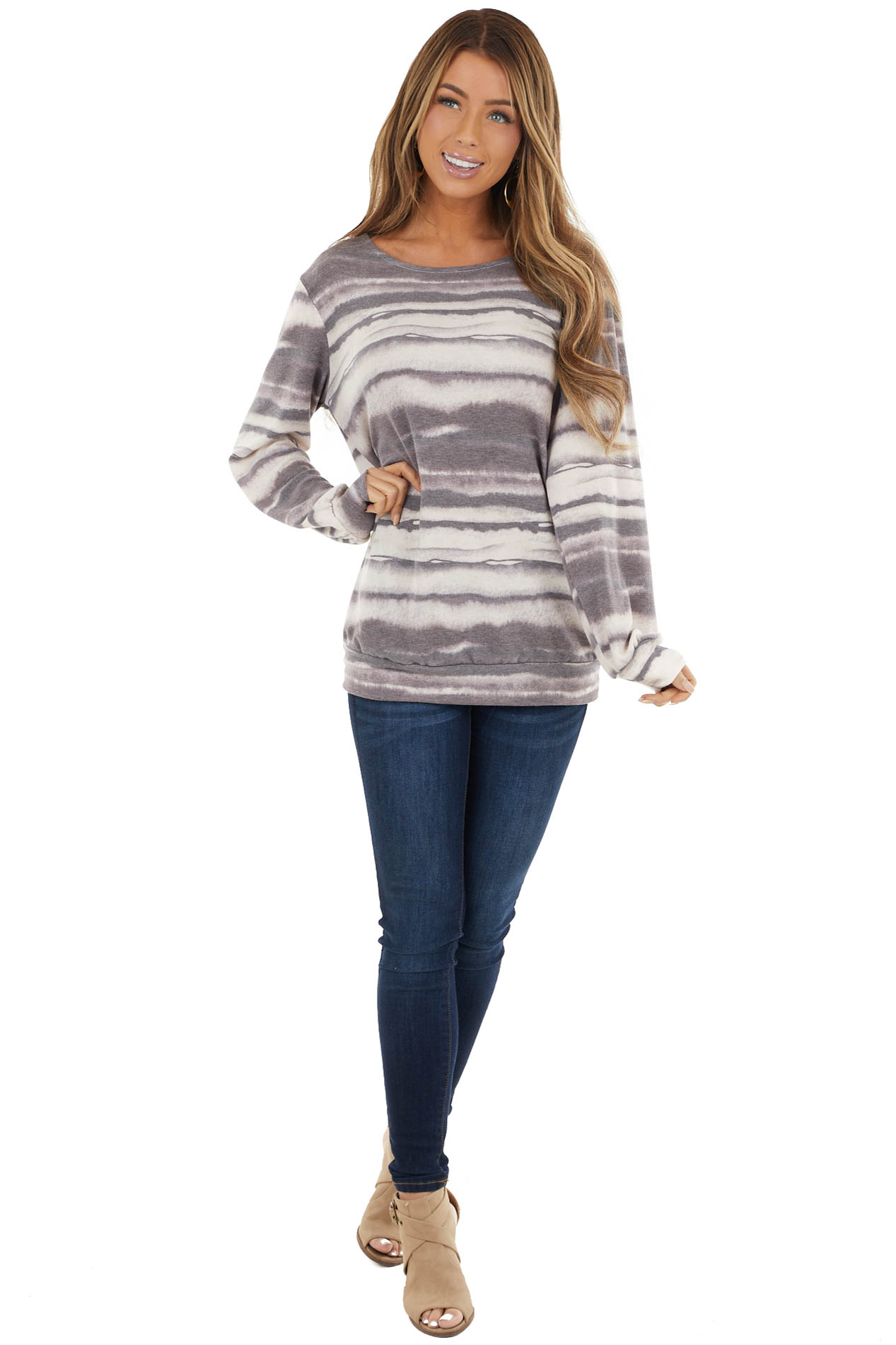 Dusty Eggplant Ink Striped Long Sleeve Top with Crochet Lace
