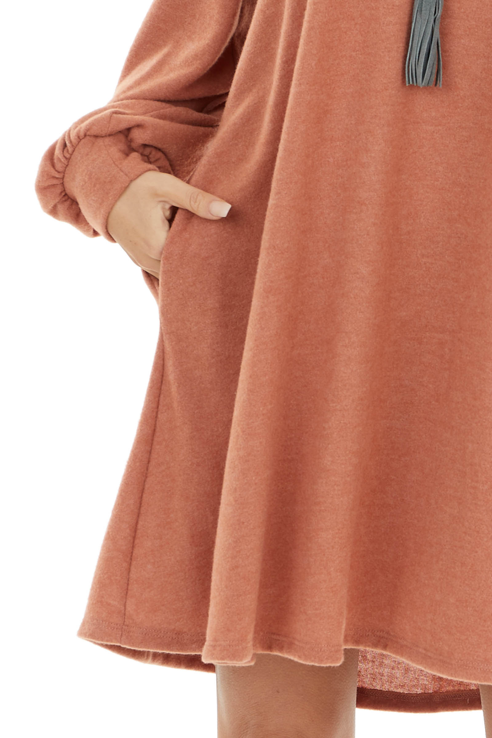 Terracotta Soft Knit Short Dress with Long Bubble Sleeve