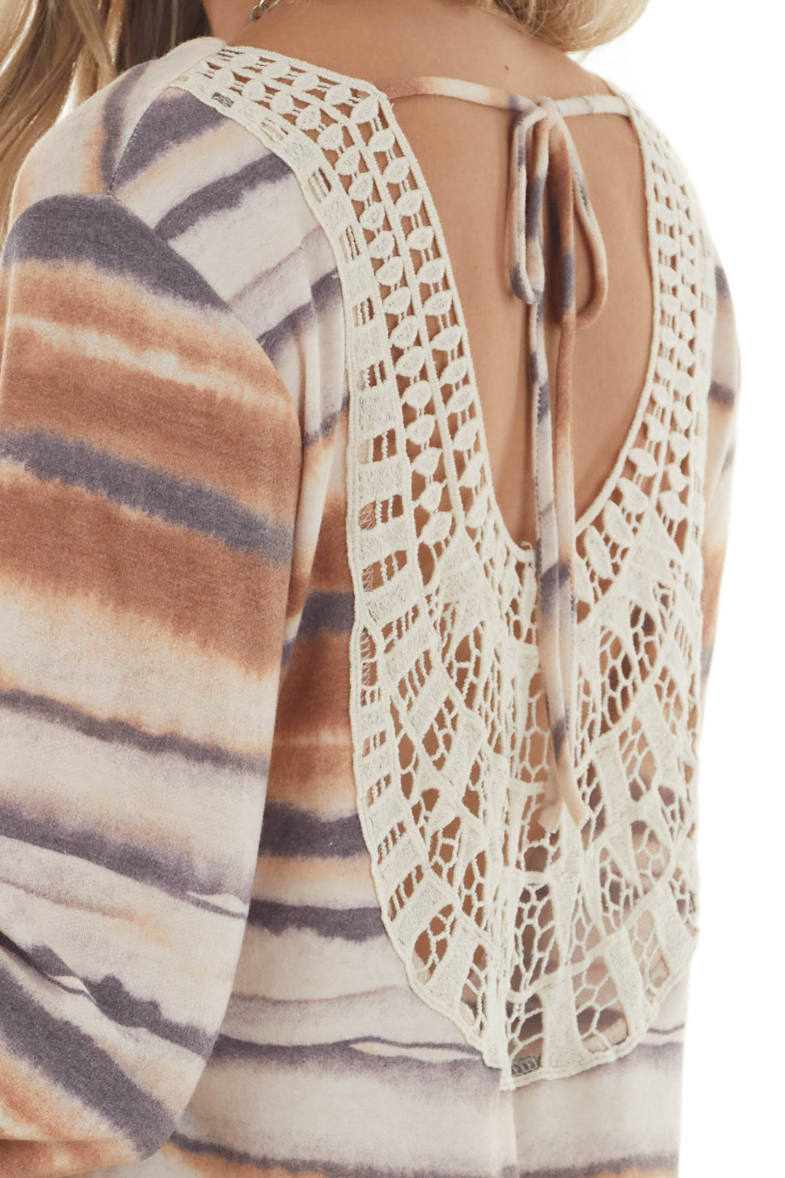 Cognac Ink Striped Long Sleeve Top with Crochet Lace