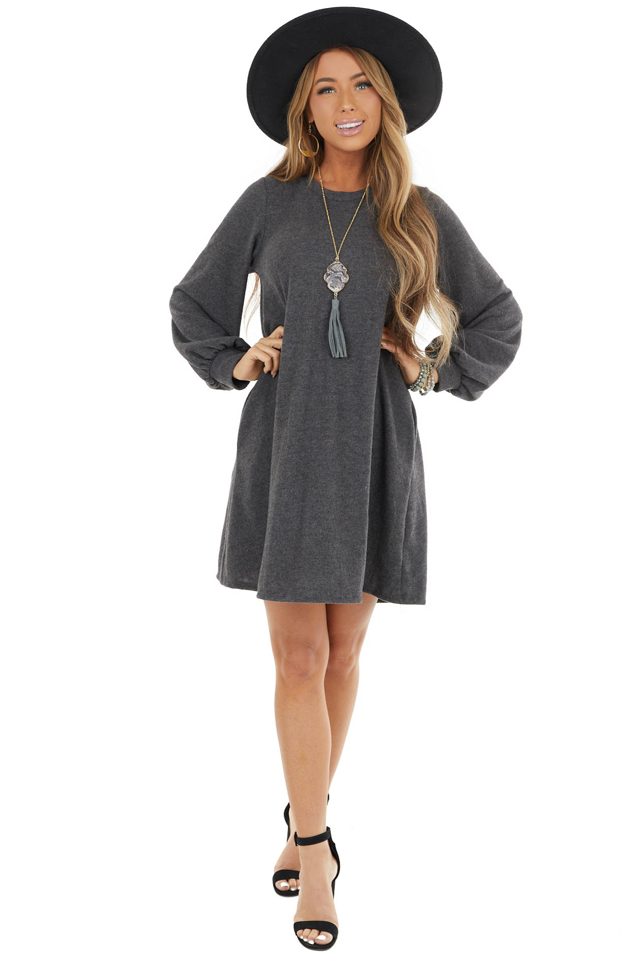 Charcoal Soft Knit Short Dress with Long Bubble Sleeve