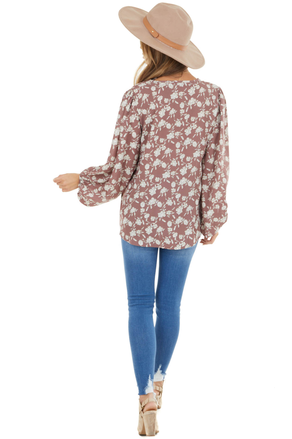 Dusty Mauve Floral Print V Neck Blouse with Bubble Sleeves
