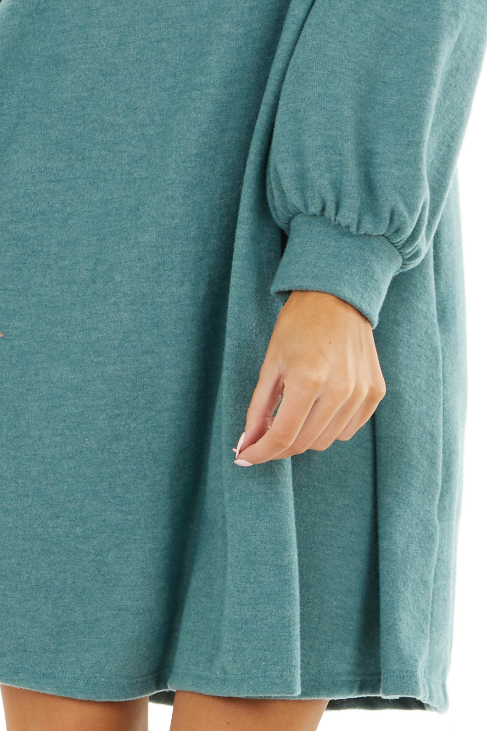 Pine Green Soft Knit Short Dress with Long Bubble Sleeve