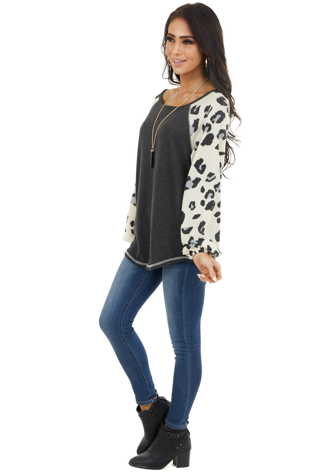 Charcoal Knit Top with Leopard Print Contrast Sleeves