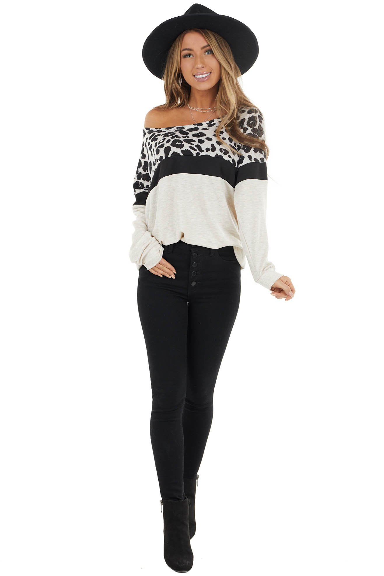 Oatmeal Leopard and Colorblock Long Sleeve Lightweight Top
