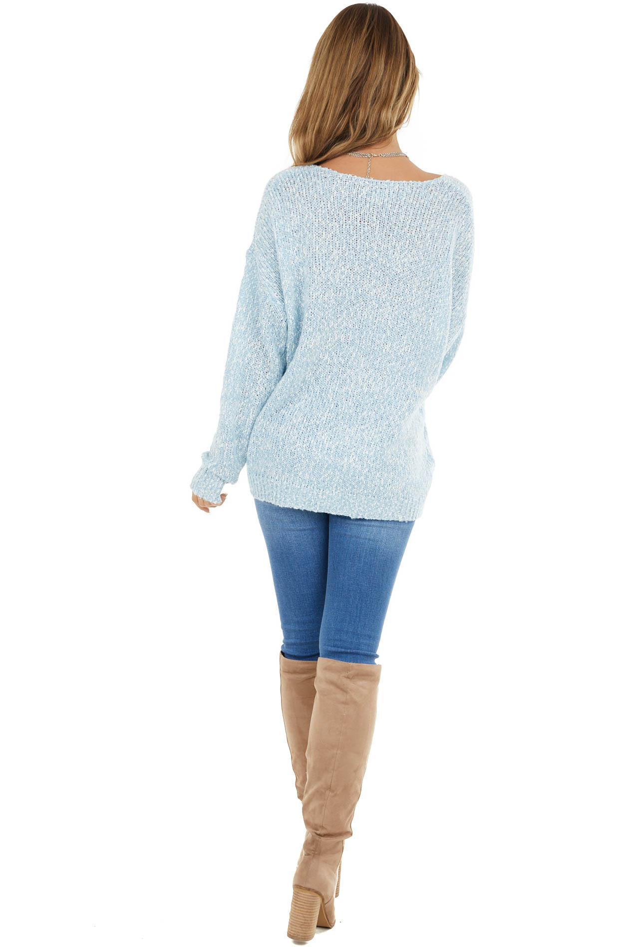 Baby Blue and White Two Toned Knit Sweater with Long Sleeve