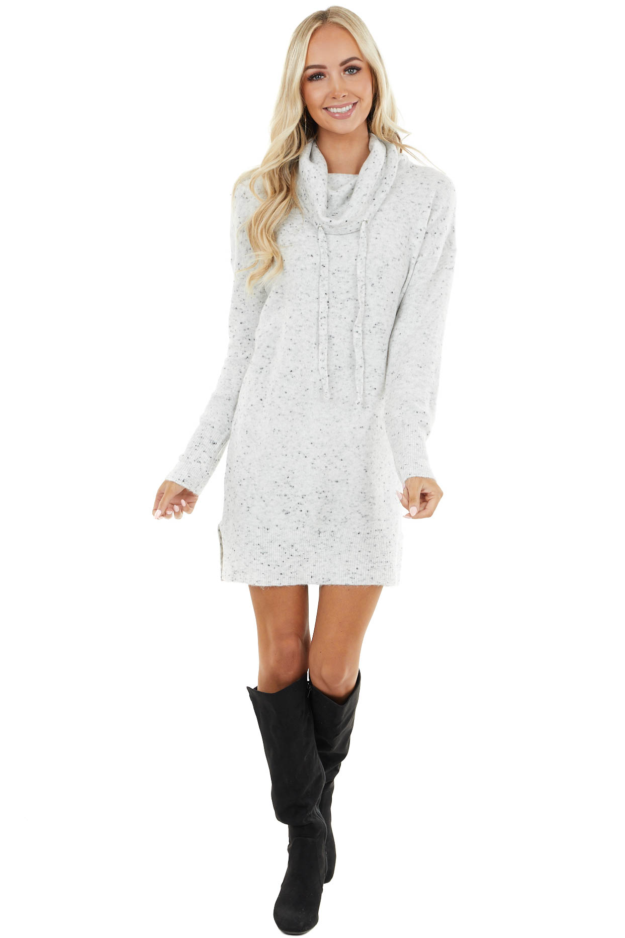 Dove Grey Long Sleeve Sweater Mini Dress with Cowl Neck