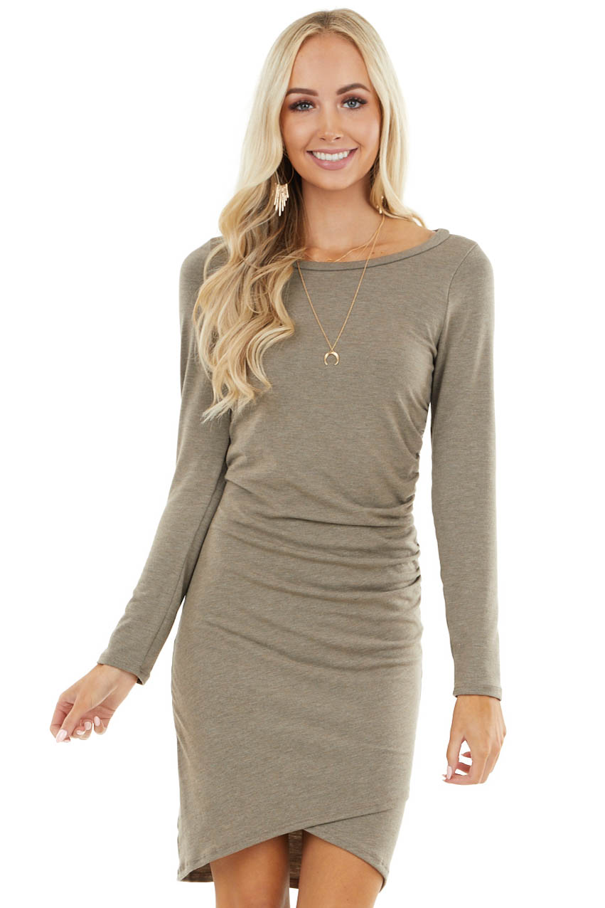 Taupe Long Sleeve Mini Dress with Side Ruching